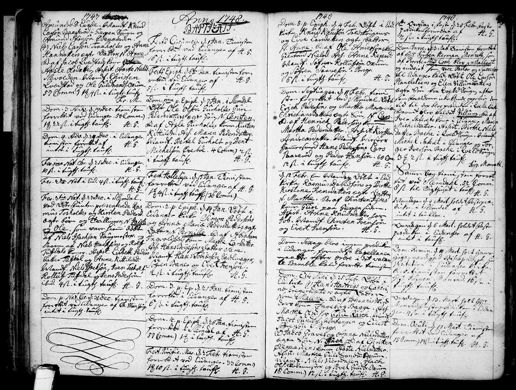 SAKO, Eidanger kirkebøker, F/Fa/L0004: Ministerialbok nr. 4, 1733-1759, s. 128-129