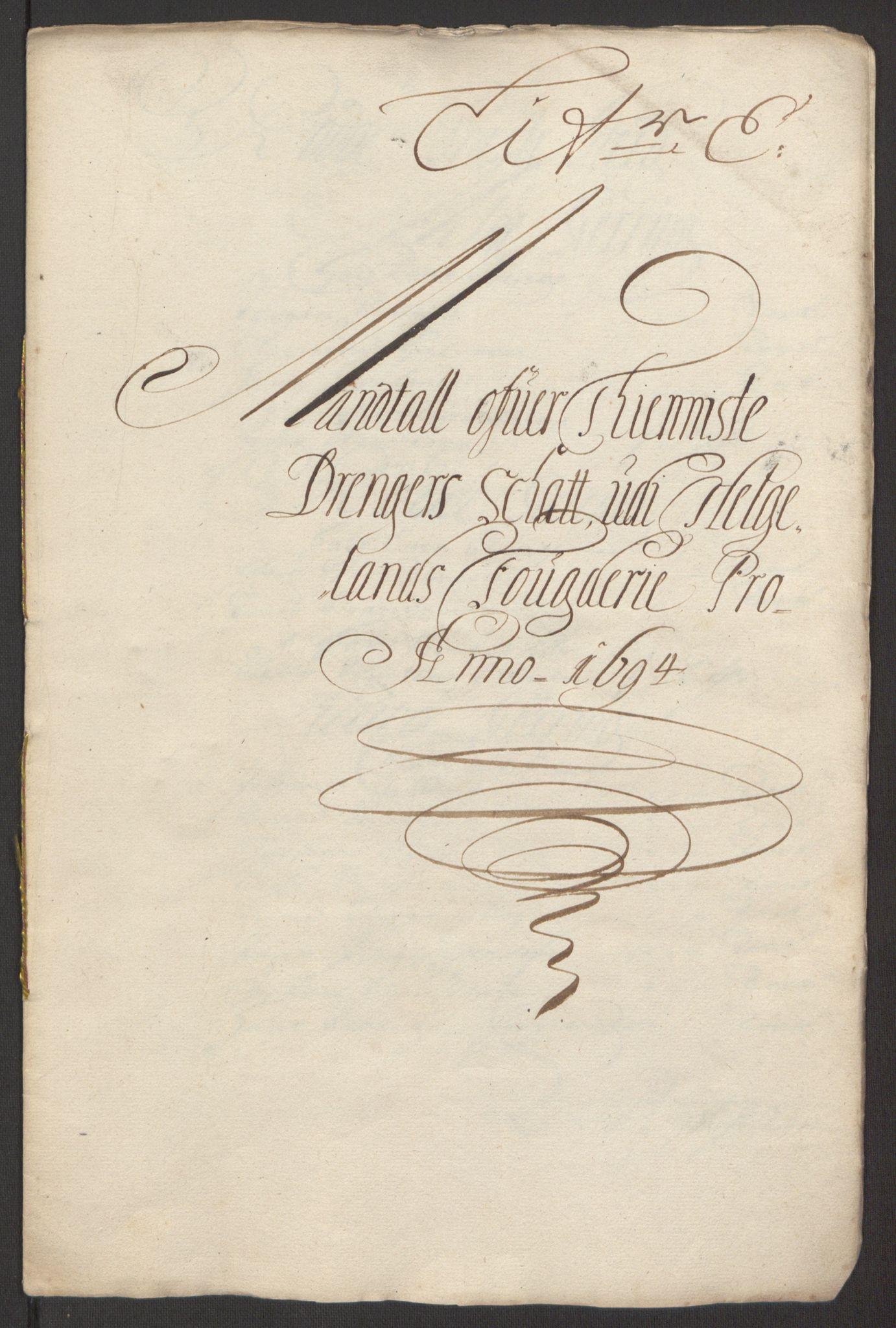 RA, Rentekammeret inntil 1814, Reviderte regnskaper, Fogderegnskap, R65/L4505: Fogderegnskap Helgeland, 1693-1696, s. 255