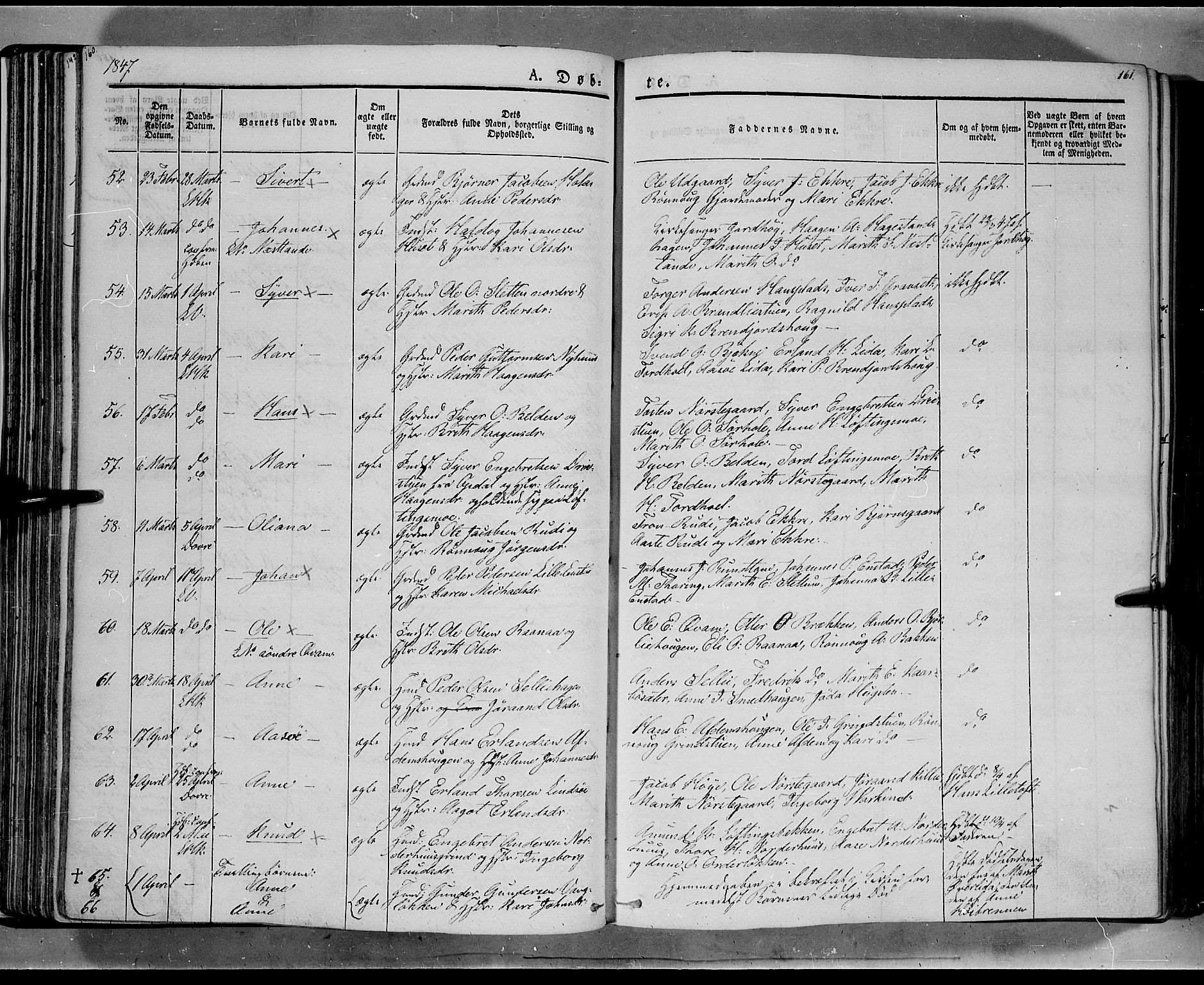 SAH, Lesja prestekontor, Ministerialbok nr. 6A, 1843-1854, s. 160-161