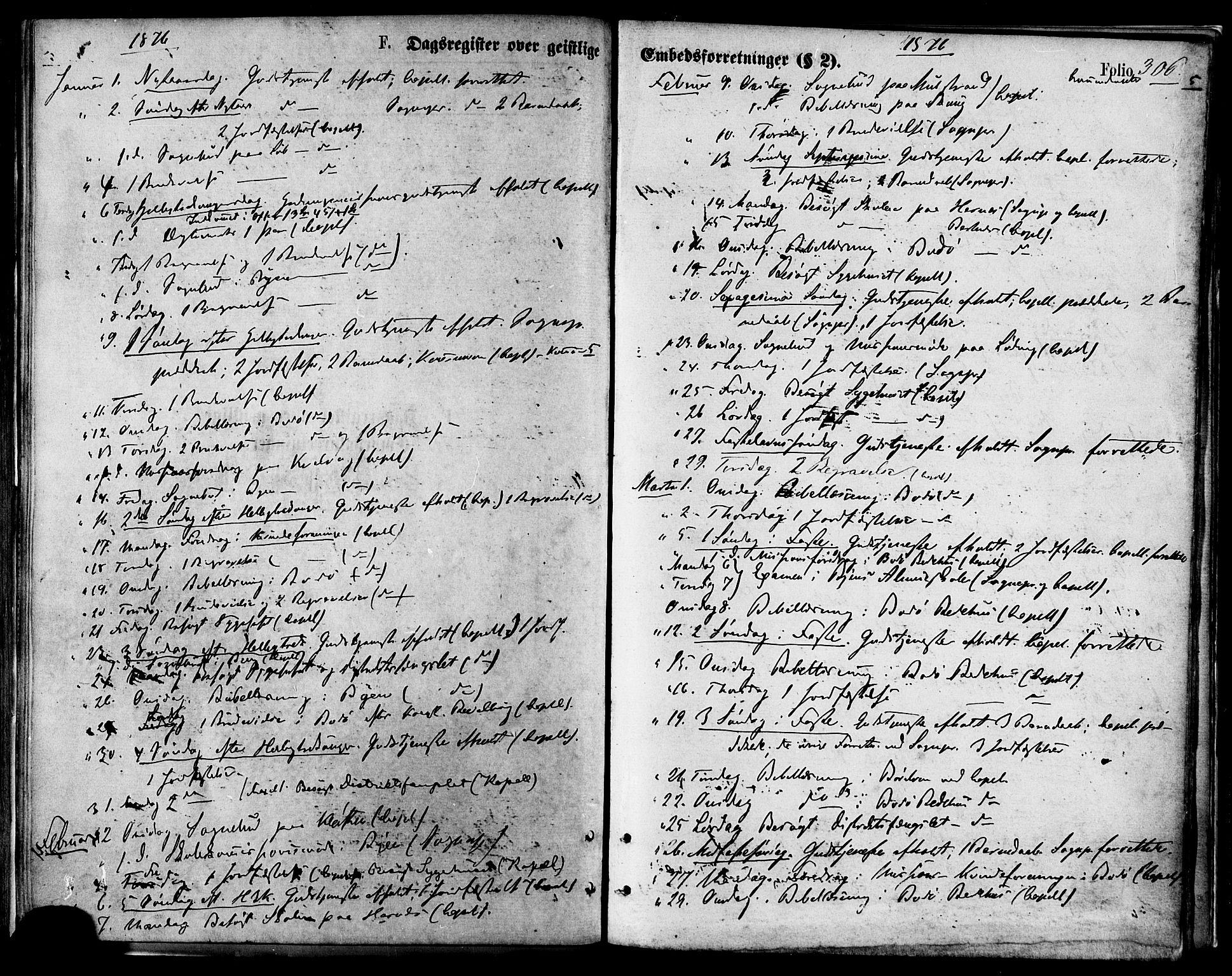 SAT, Ministerialprotokoller, klokkerbøker og fødselsregistre - Nordland, 801/L0009: Ministerialbok nr. 801A09, 1876-1883, s. 306