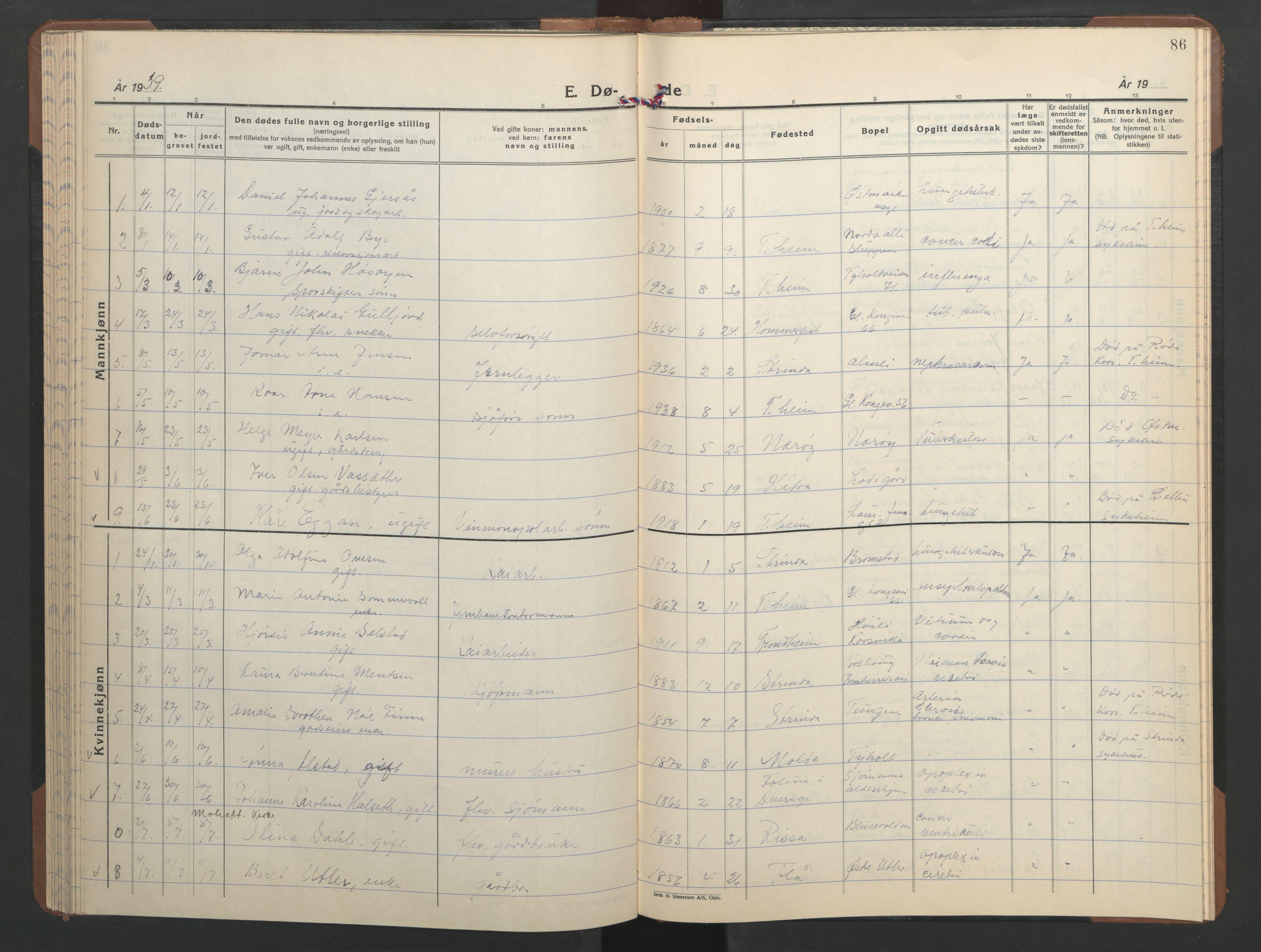 SAT, Ministerialprotokoller, klokkerbøker og fødselsregistre - Sør-Trøndelag, 606/L0315: Klokkerbok nr. 606C11, 1938-1947, s. 86