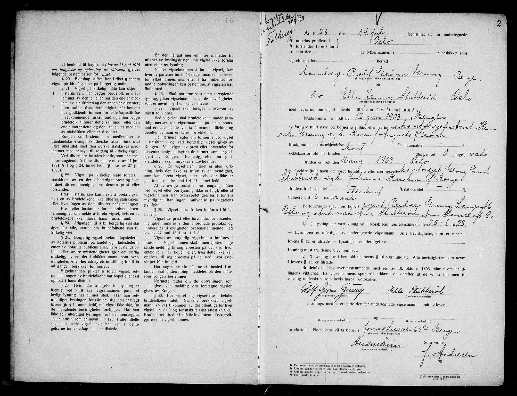 SAO, Oslo byfogd avd. I, L/Lb/Lbb/L0019: Notarialprotokoll, rekke II: Vigsler, 1928-1929, s. 1b-2a