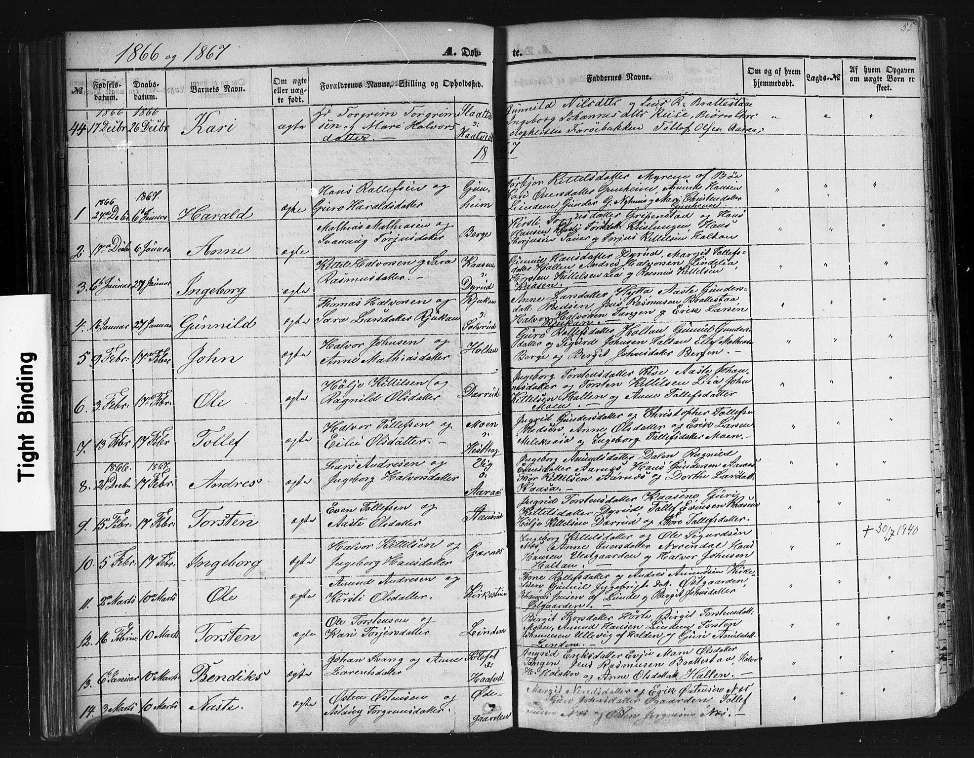 SAKO, Sauherad kirkebøker, F/Fb/L0001: Ministerialbok nr. II 1, 1851-1877, s. 55