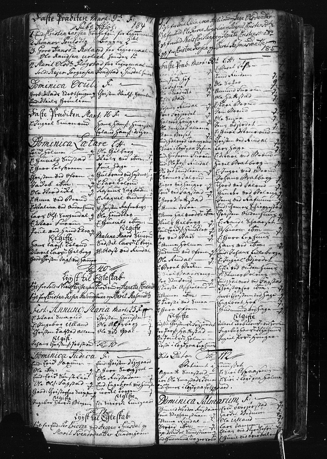 SAH, Fåberg prestekontor, Klokkerbok nr. 1, 1727-1767, s. 184-185