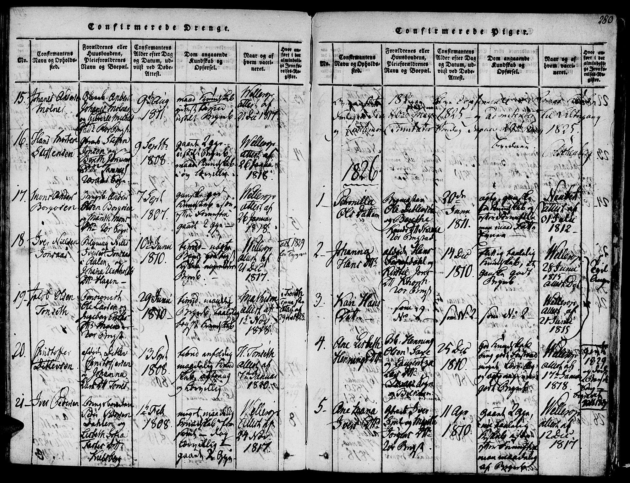 SAT, Ministerialprotokoller, klokkerbøker og fødselsregistre - Sør-Trøndelag, 681/L0929: Ministerialbok nr. 681A07, 1817-1828, s. 280