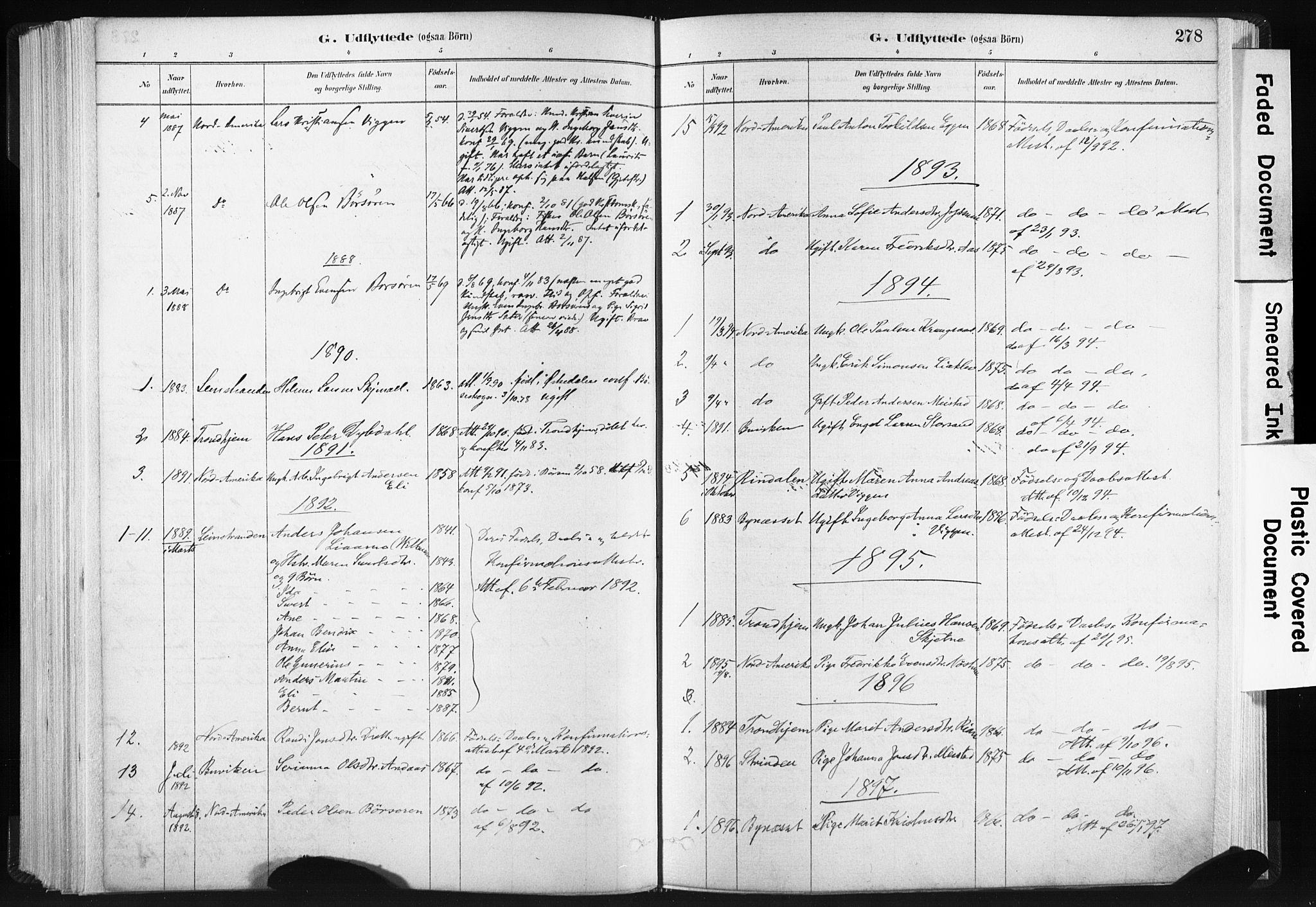 SAT, Ministerialprotokoller, klokkerbøker og fødselsregistre - Sør-Trøndelag, 665/L0773: Ministerialbok nr. 665A08, 1879-1905, s. 278
