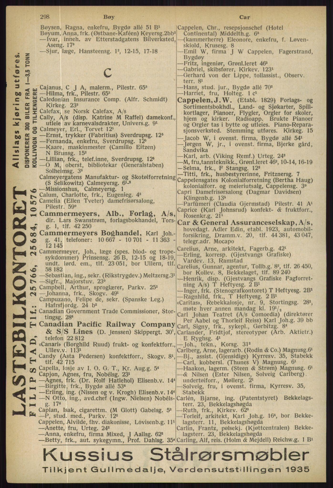 RA, Oslo adressebok (publikasjon)*, 1936, s. 298