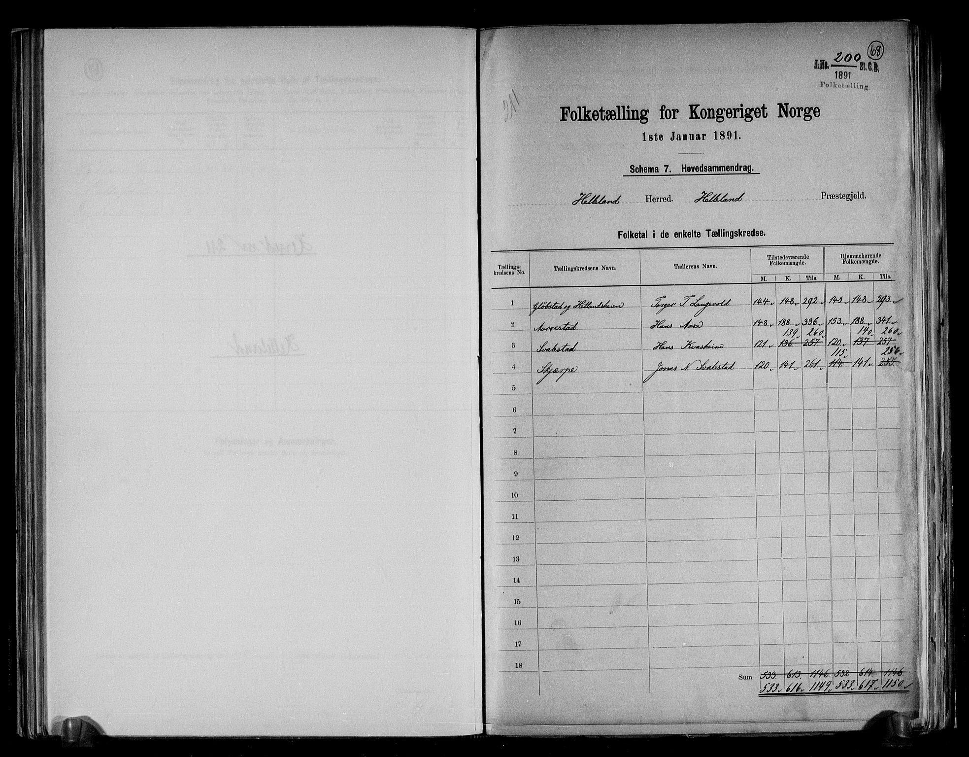 RA, Folketelling 1891 for 1115 Helleland herred, 1891, s. 2