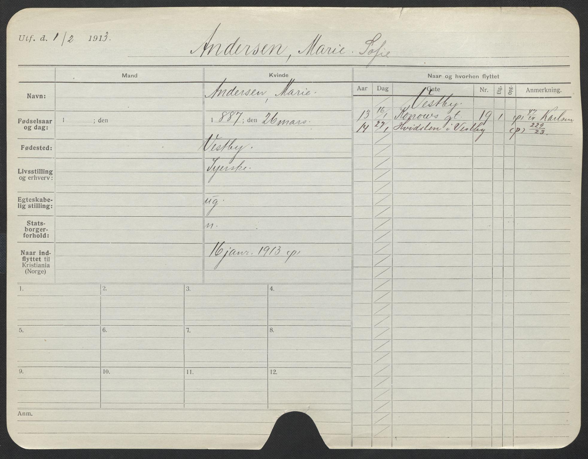 SAO, Oslo folkeregister, Registerkort, F/Fa/Fac/L0012: Kvinner, 1906-1914, s. 626a