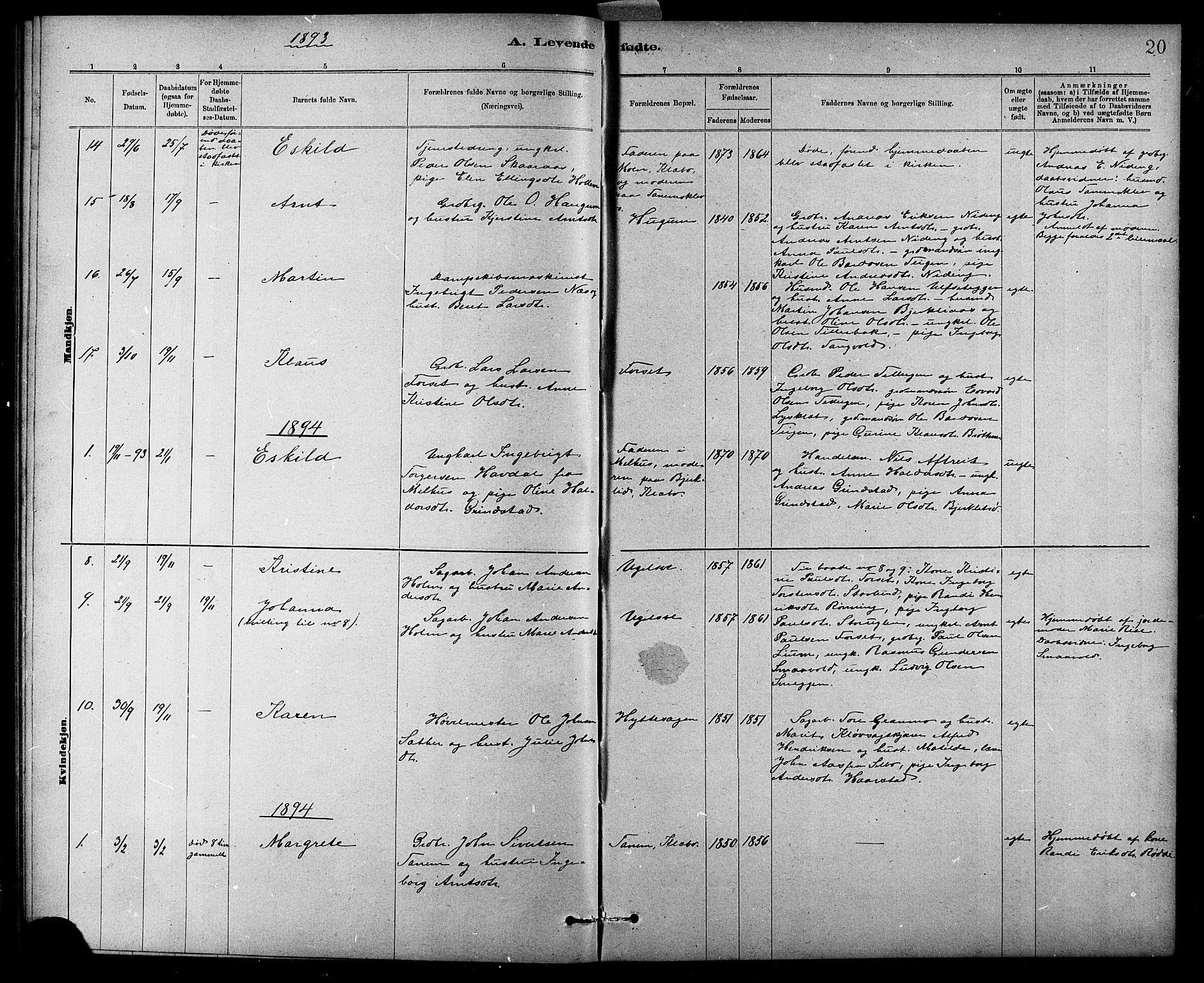SAT, Ministerialprotokoller, klokkerbøker og fødselsregistre - Sør-Trøndelag, 618/L0452: Klokkerbok nr. 618C03, 1884-1906, s. 20