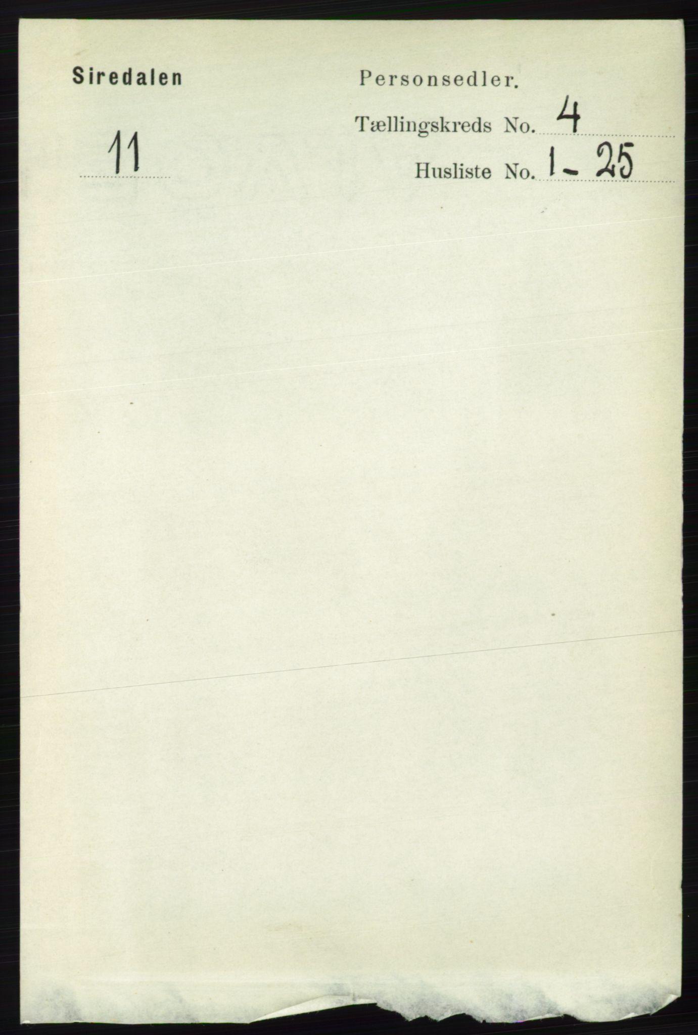 RA, Folketelling 1891 for 1046 Sirdal herred, 1891, s. 934