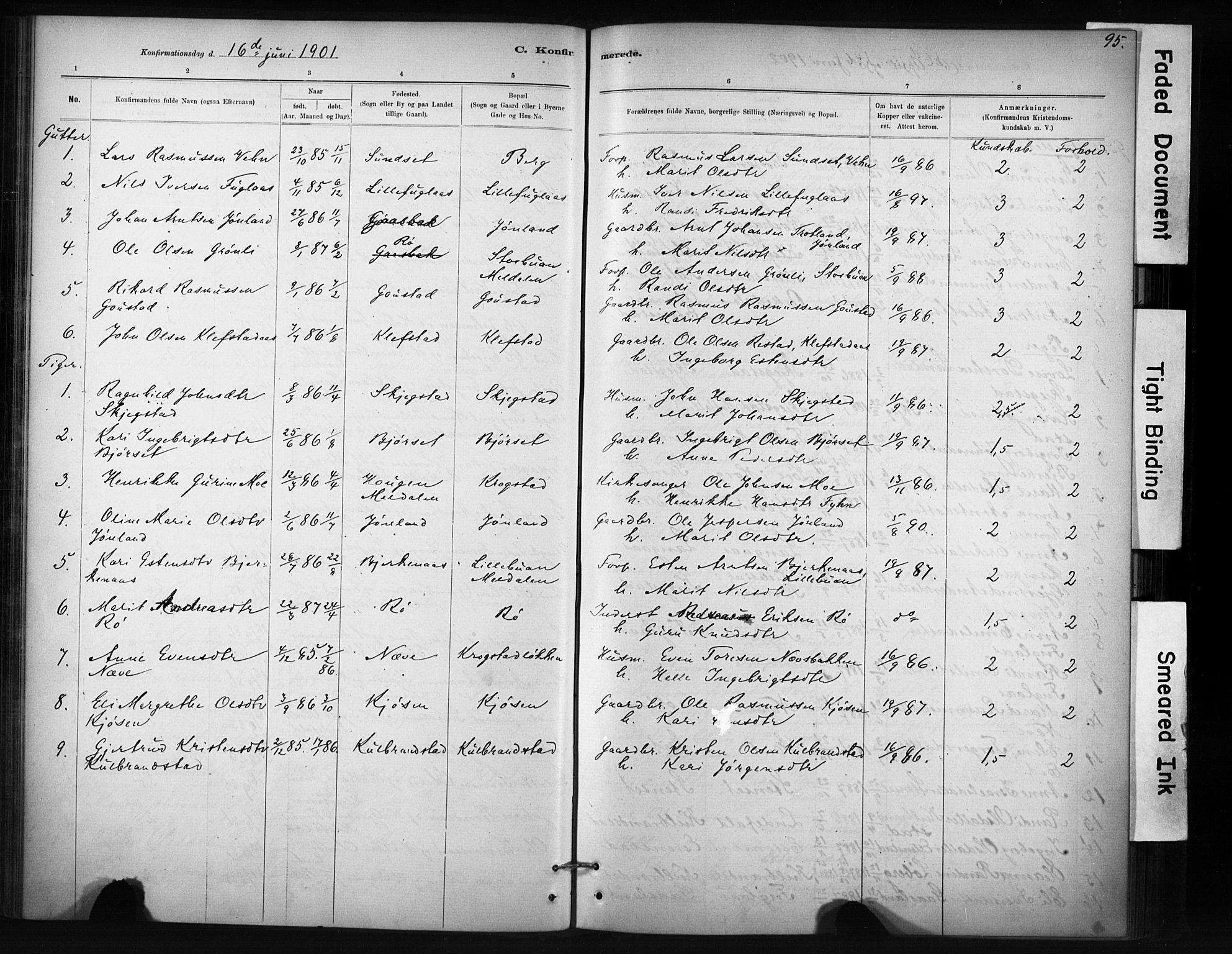 SAT, Ministerialprotokoller, klokkerbøker og fødselsregistre - Sør-Trøndelag, 694/L1127: Ministerialbok nr. 694A01, 1887-1905, s. 95