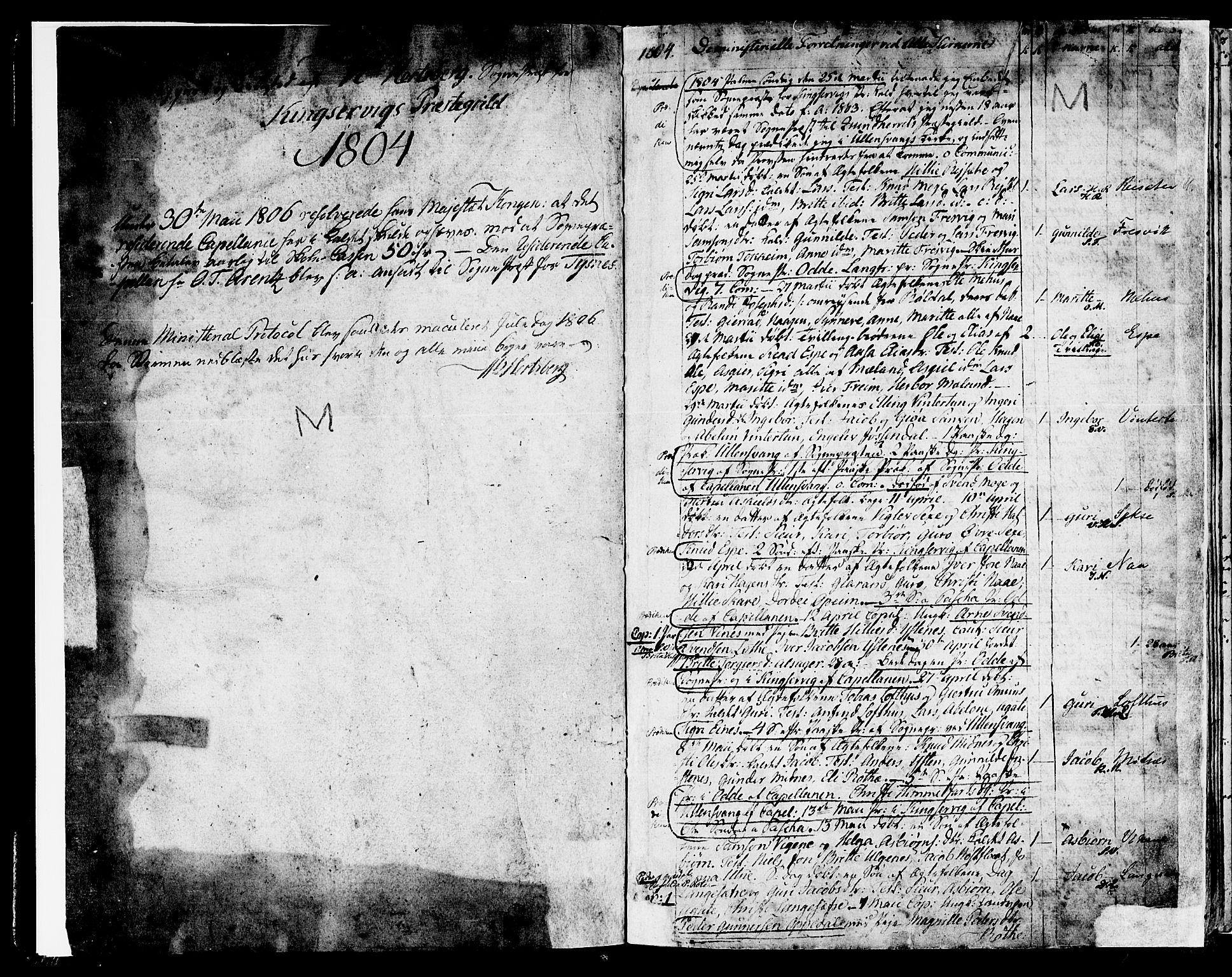SAB, Ullensvang Sokneprestembete, H/Haa: Ministerialbok nr. A 8, 1804-1835, s. 1