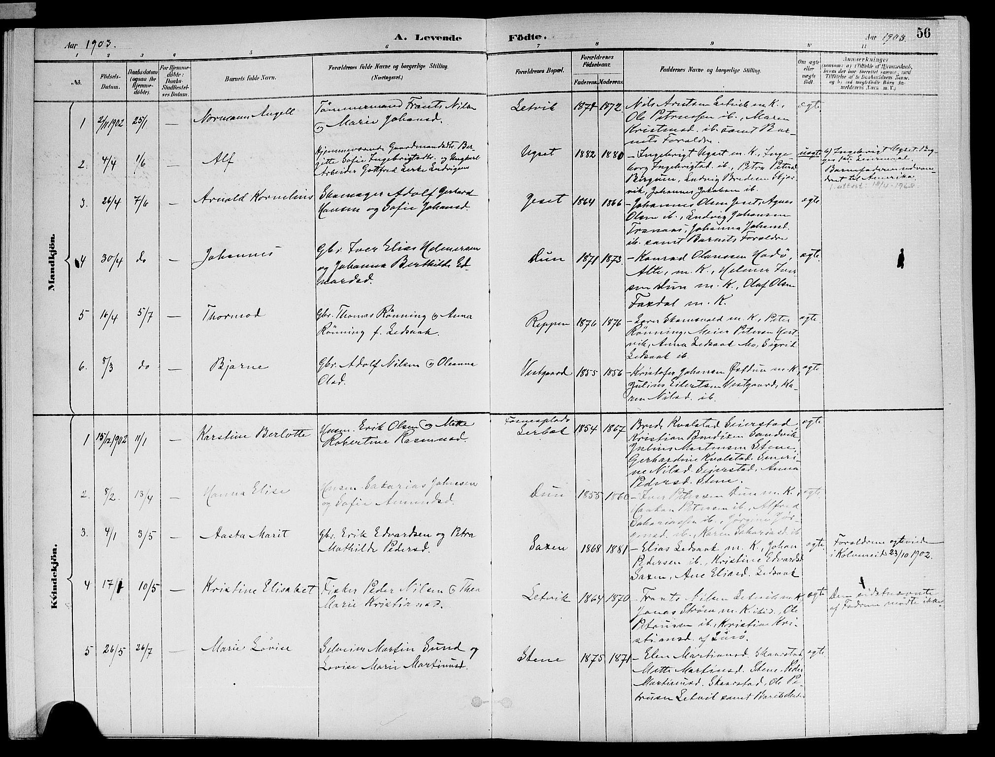 SAT, Ministerialprotokoller, klokkerbøker og fødselsregistre - Nord-Trøndelag, 773/L0617: Ministerialbok nr. 773A08, 1887-1910, s. 56