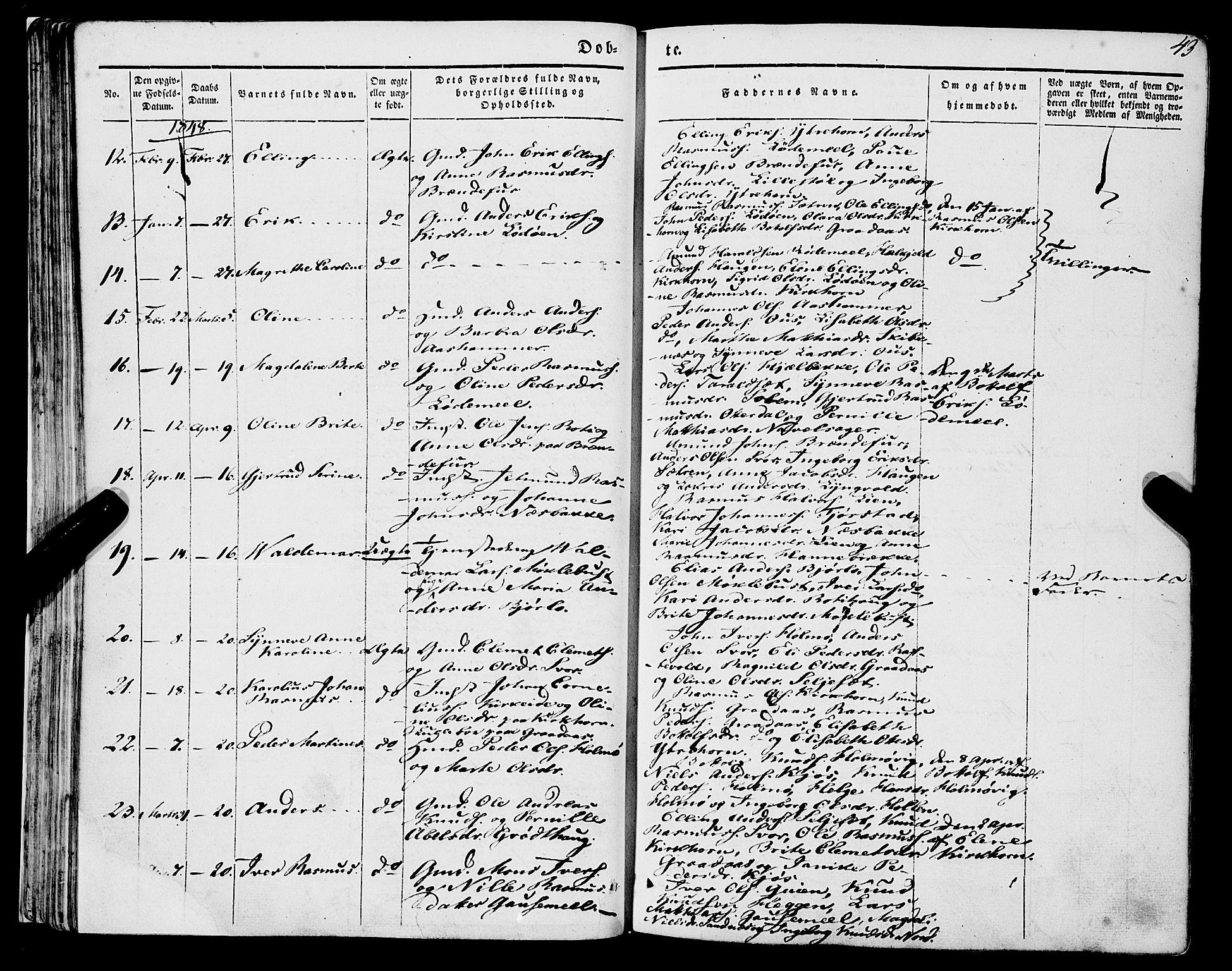 SAB, Eid sokneprestembete, H/Haa/Haaa/L0007: Ministerialbok nr. A 7, 1844-1858, s. 43