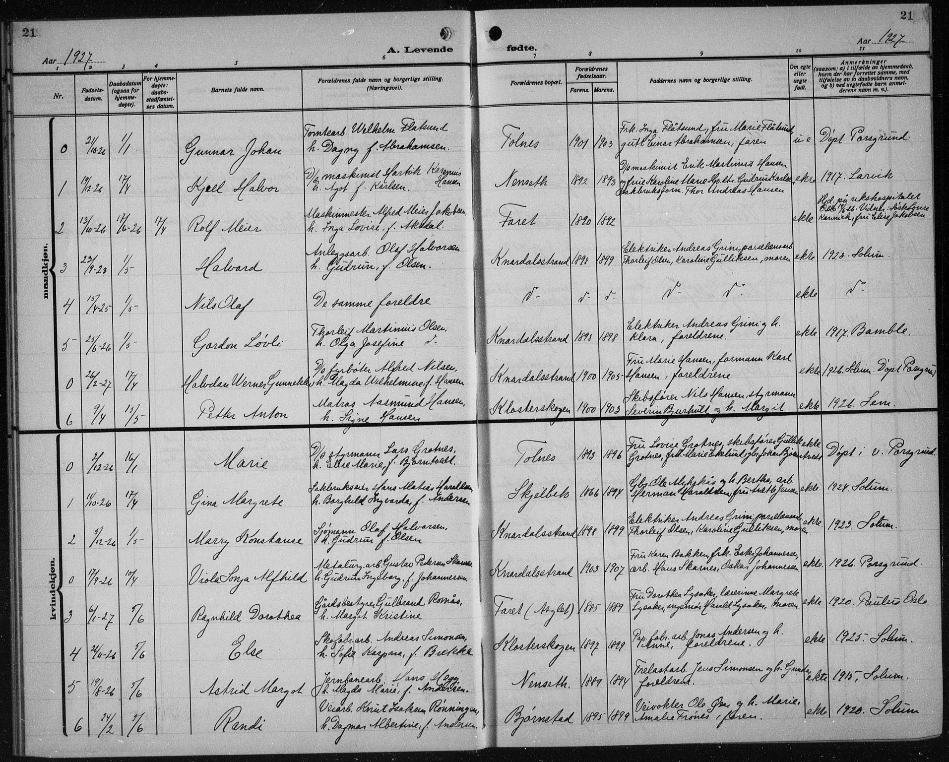 SAKO, Solum kirkebøker, G/Ga/L0010: Klokkerbok nr. I 10, 1921-1937, s. 21