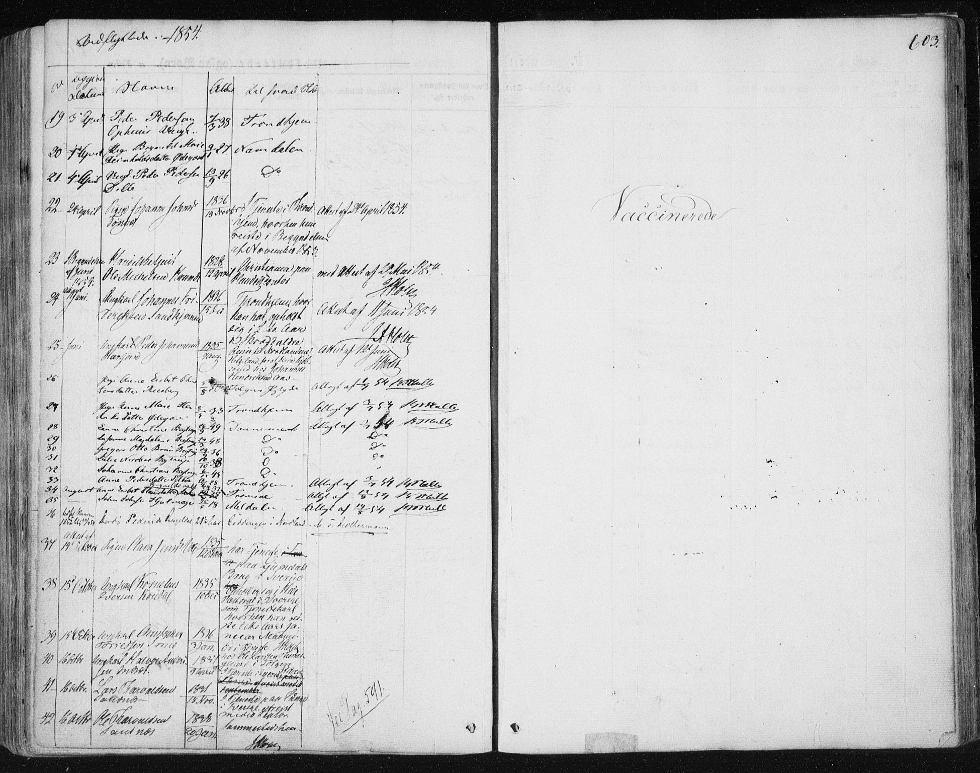 SAT, Ministerialprotokoller, klokkerbøker og fødselsregistre - Sør-Trøndelag, 681/L0931: Ministerialbok nr. 681A09, 1845-1859, s. 603