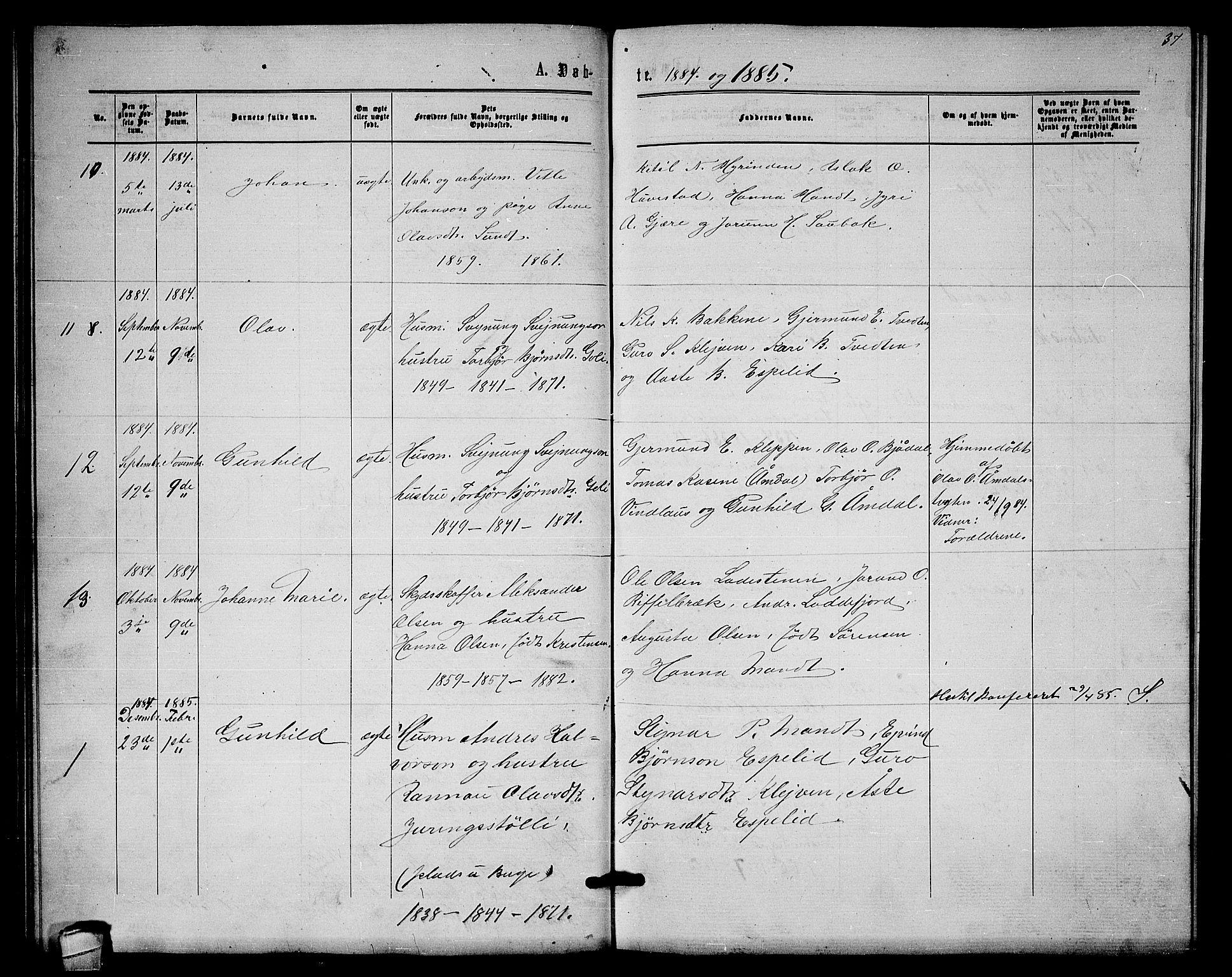SAKO, Lårdal kirkebøker, G/Gb/L0002: Klokkerbok nr. II 2, 1865-1888, s. 37