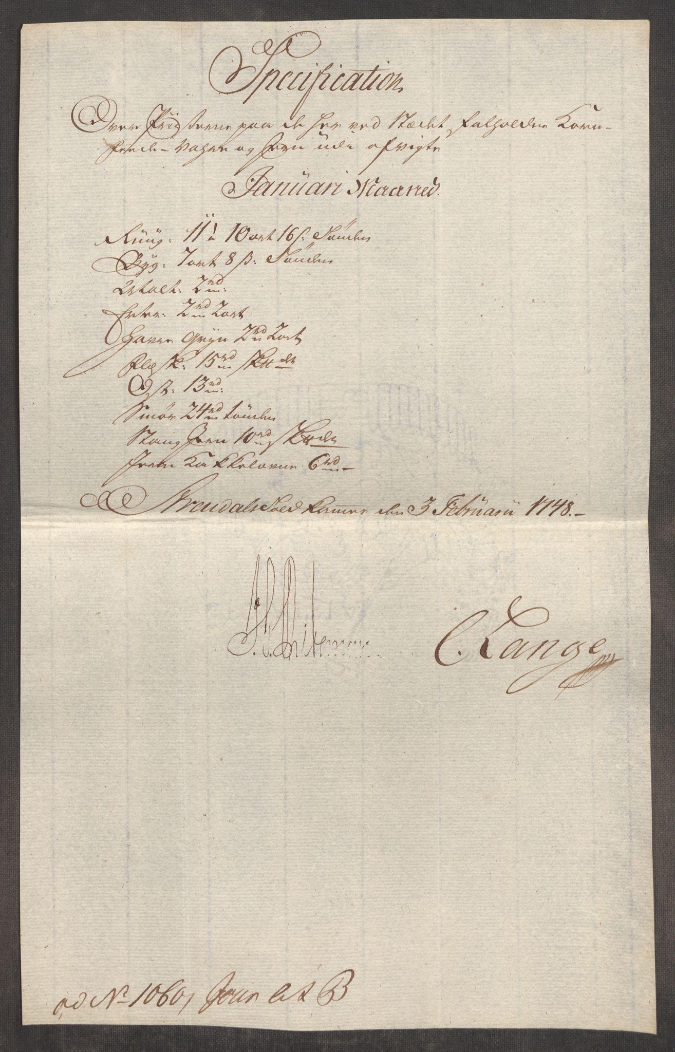 RA, Rentekammeret inntil 1814, Realistisk ordnet avdeling, Oe/L0003: [Ø1]: Priskuranter, 1745-1748, s. 825