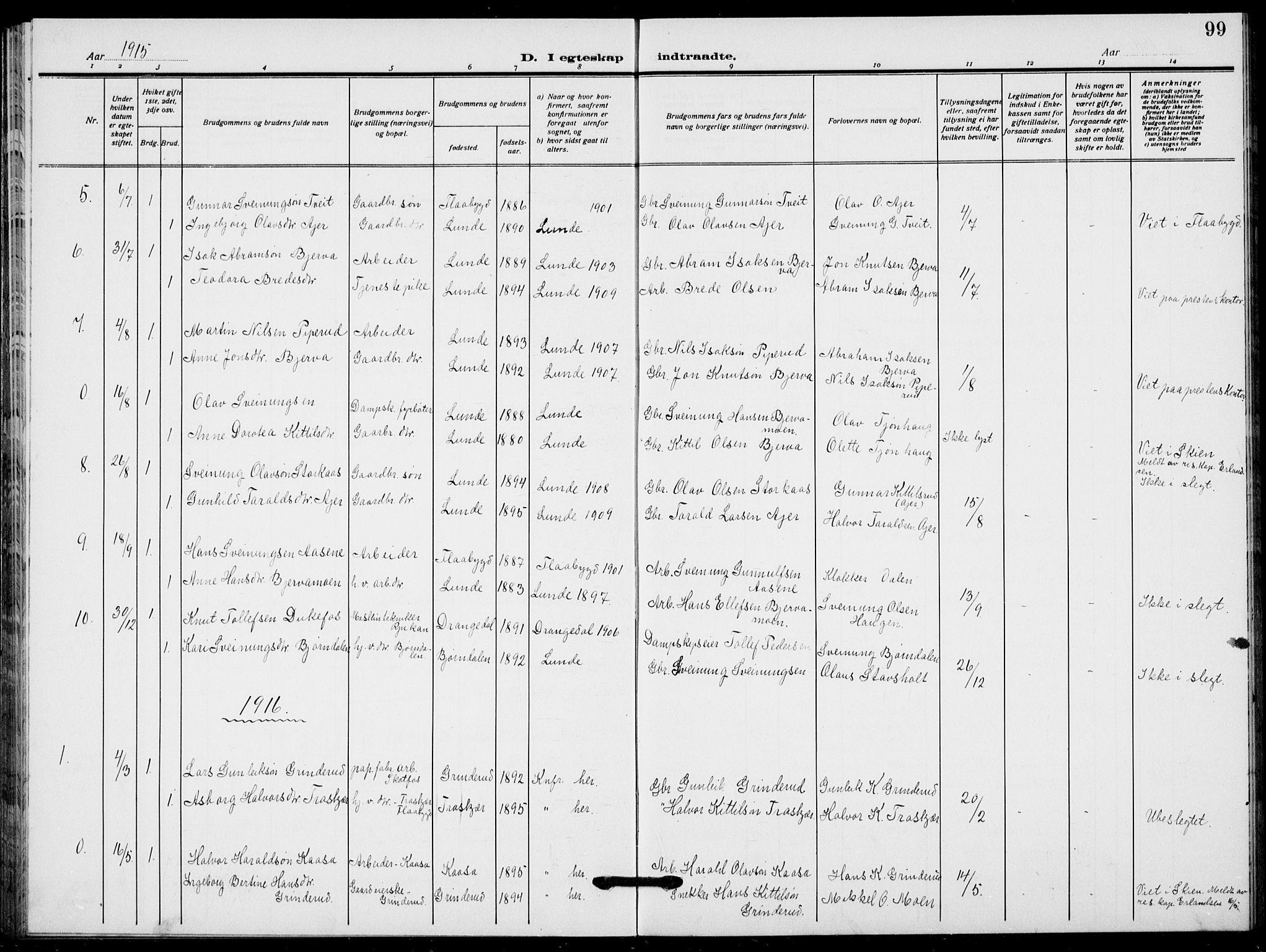 SAKO, Lunde kirkebøker, F/Fa/L0005: Ministerialbok nr. I 5, 1914-1922, s. 99