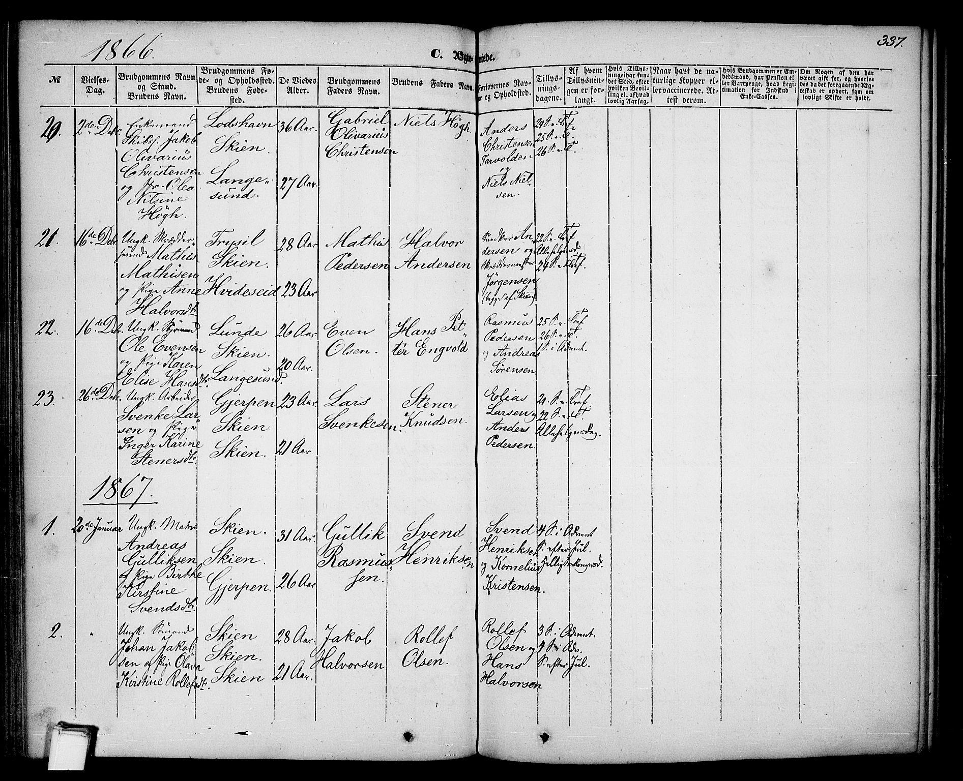 SAKO, Skien kirkebøker, G/Ga/L0004: Klokkerbok nr. 4, 1843-1867, s. 337