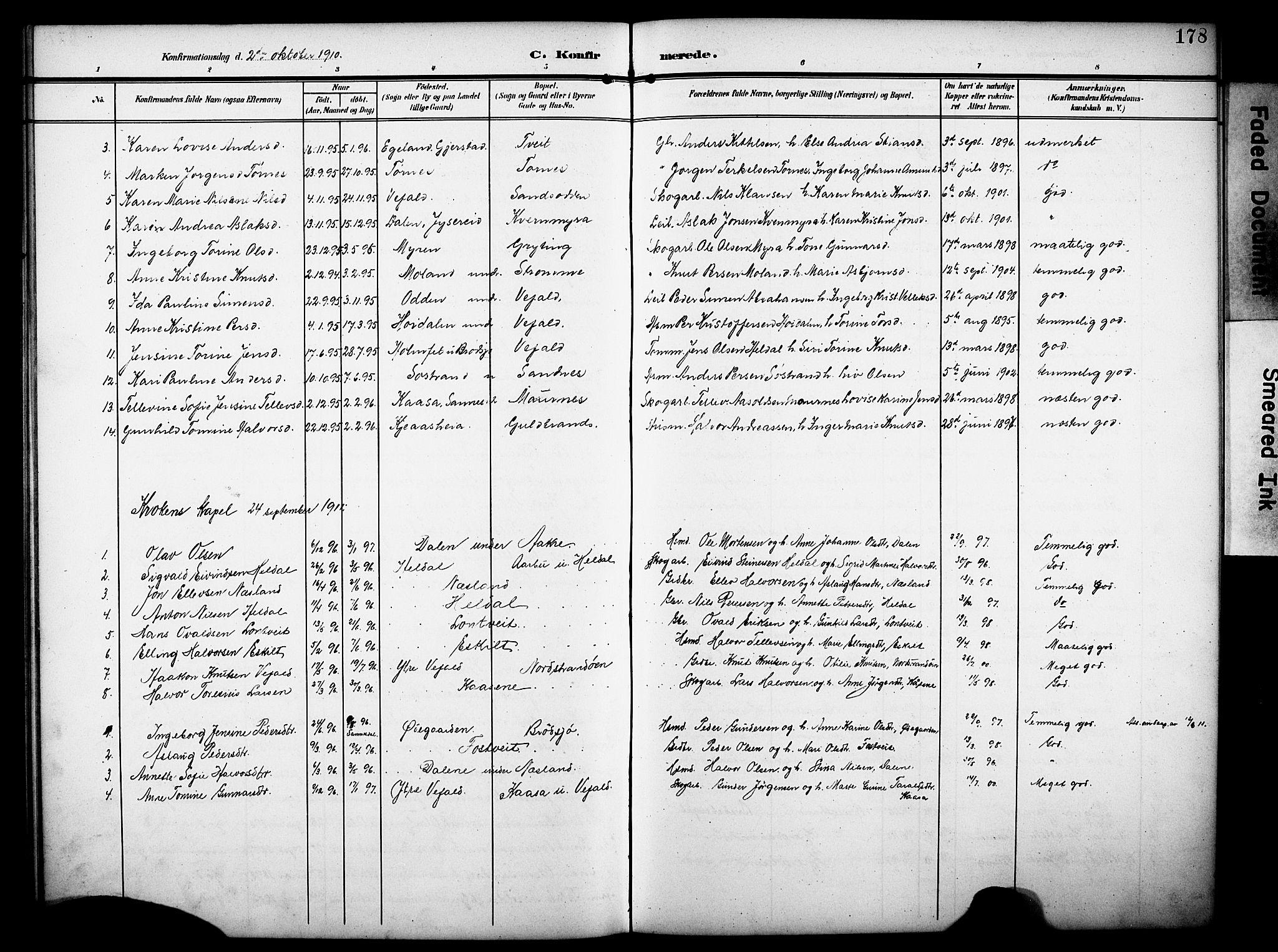 SAKO, Drangedal kirkebøker, G/Ga/L0004: Klokkerbok nr. I 4, 1901-1933, s. 178