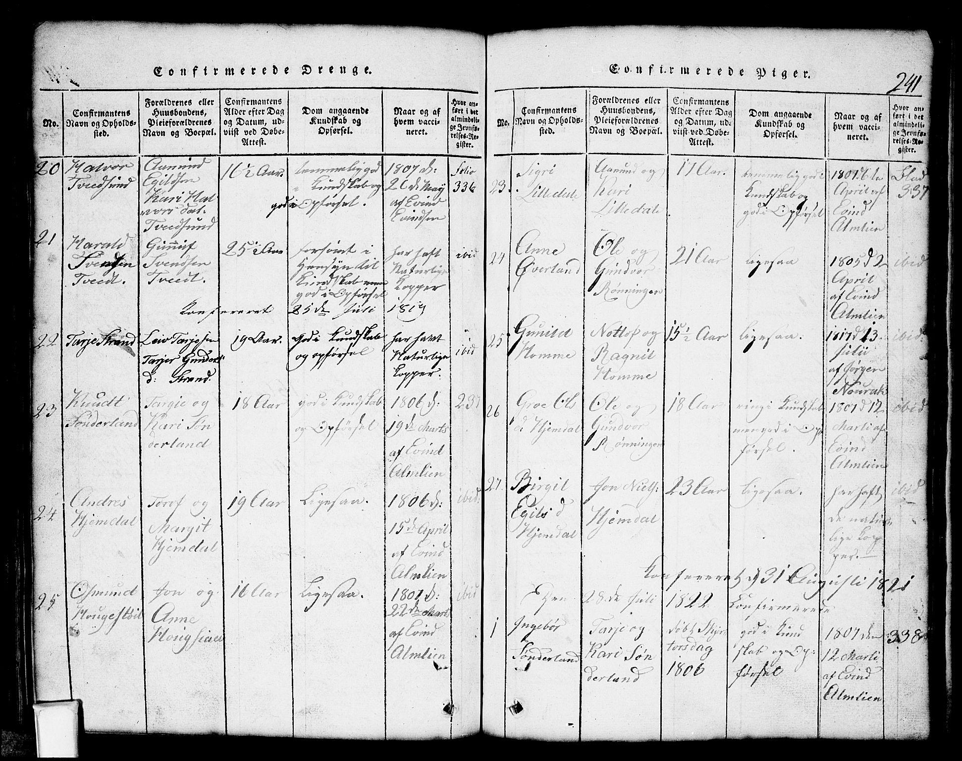 SAKO, Nissedal kirkebøker, G/Gb/L0001: Klokkerbok nr. II 1, 1814-1862, s. 241