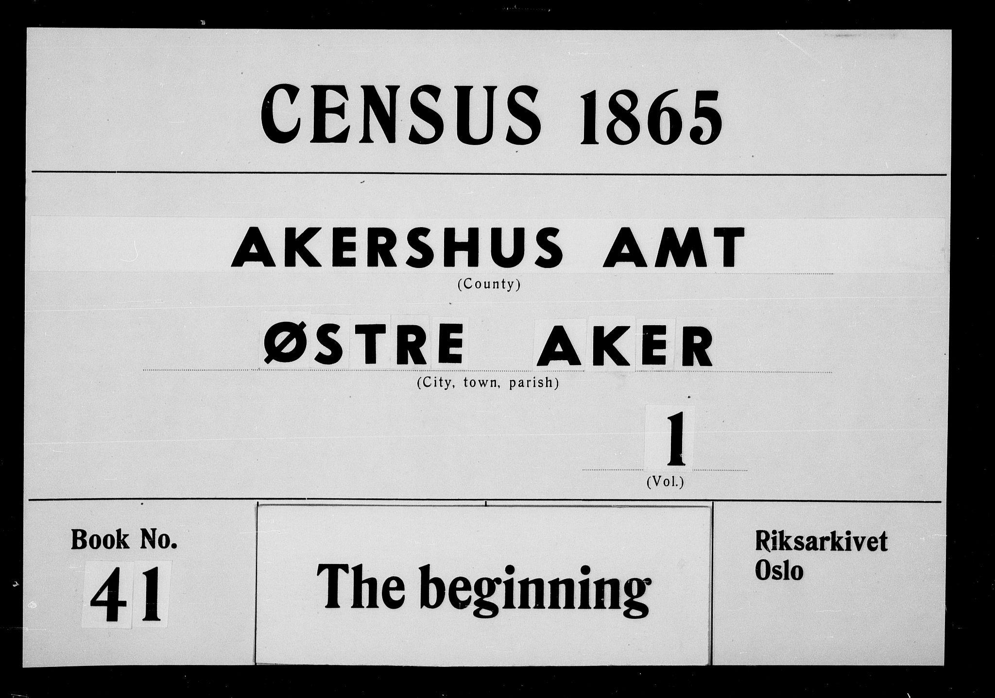 RA, Folketelling 1865 for 0218bP Østre Aker prestegjeld, 1865, s. 1