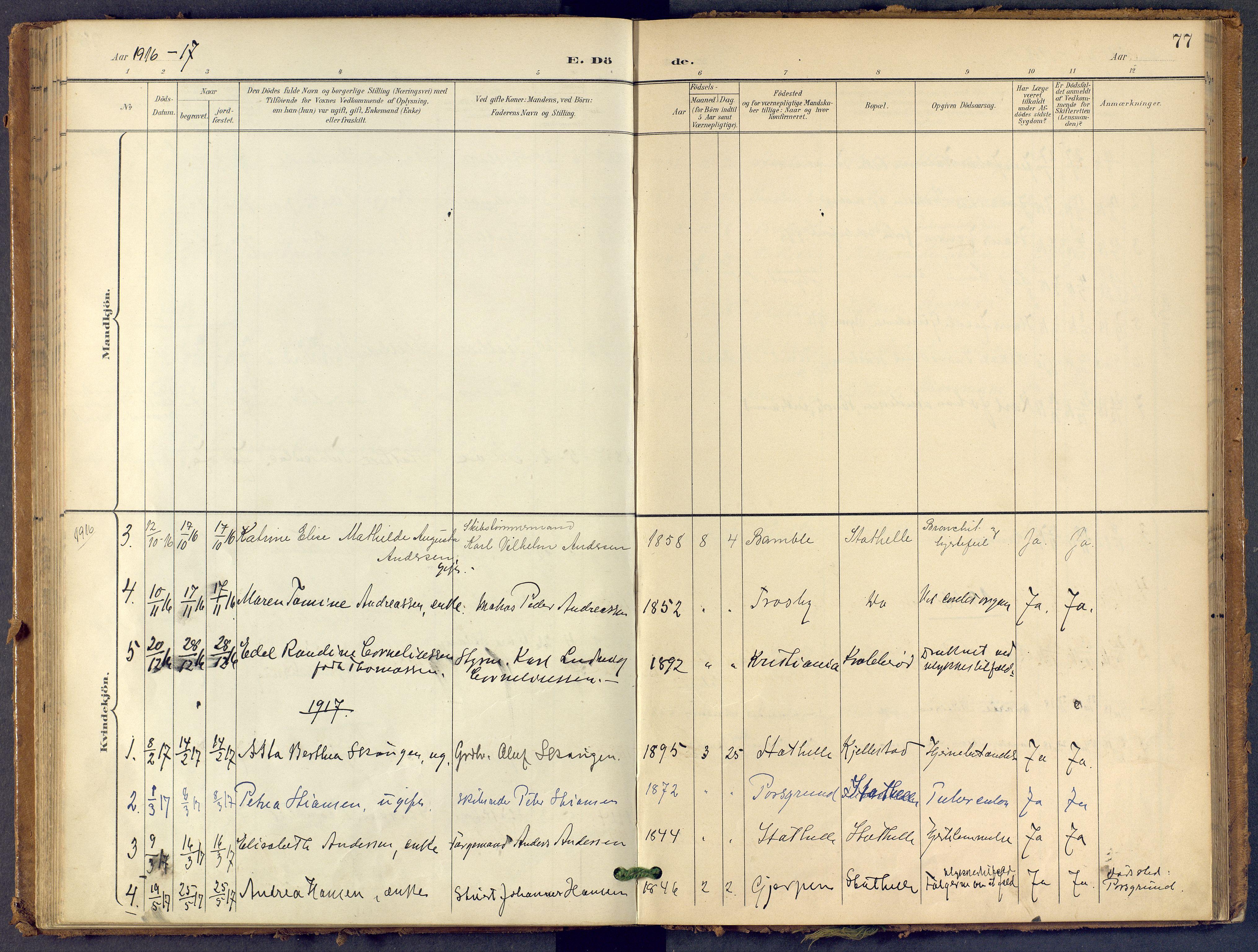 SAKO, Bamble kirkebøker, F/Fb/L0002: Ministerialbok nr. II 2, 1900-1921, s. 77