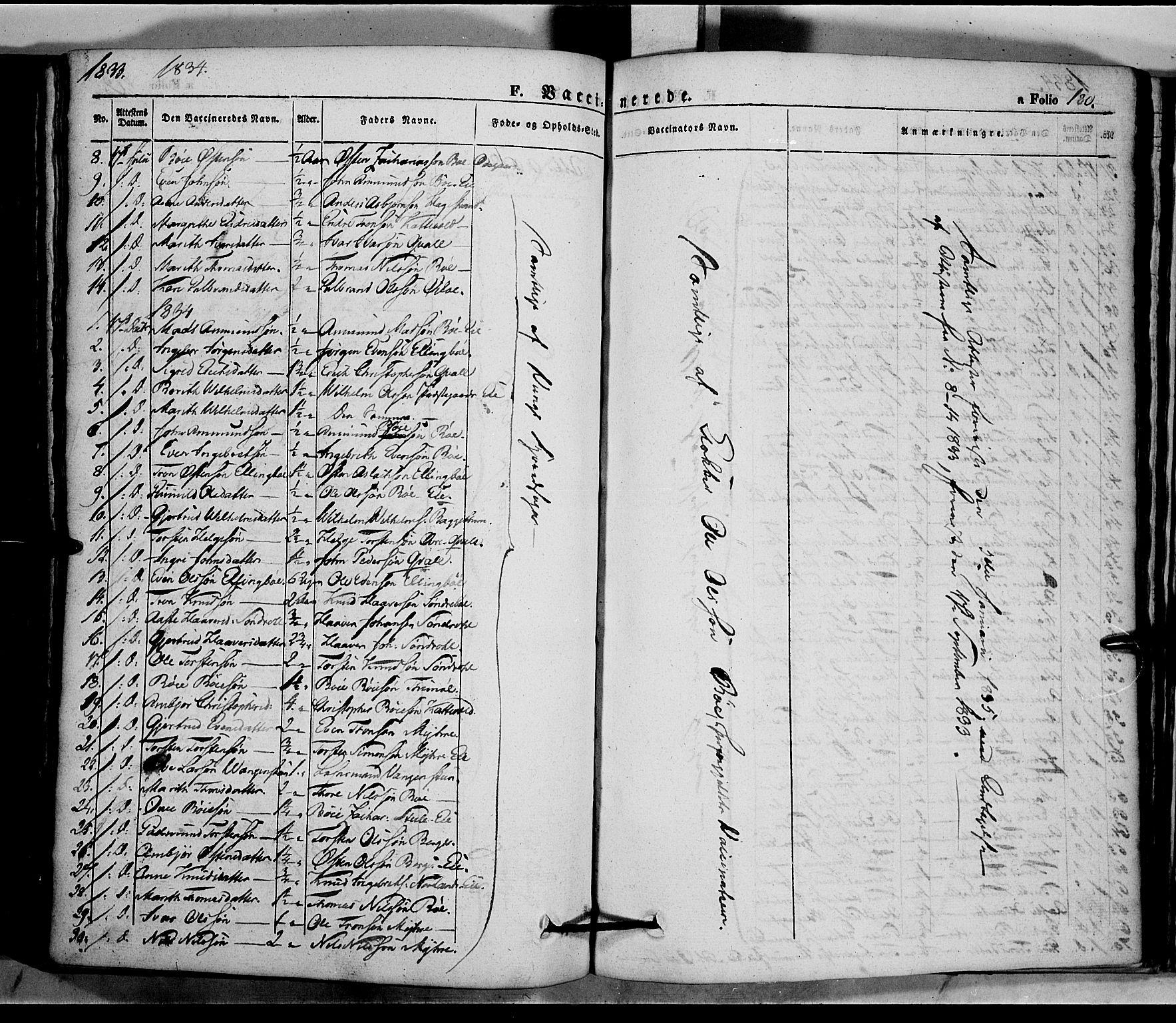 SAH, Vang prestekontor, Valdres, Ministerialbok nr. 5, 1831-1845, s. 180