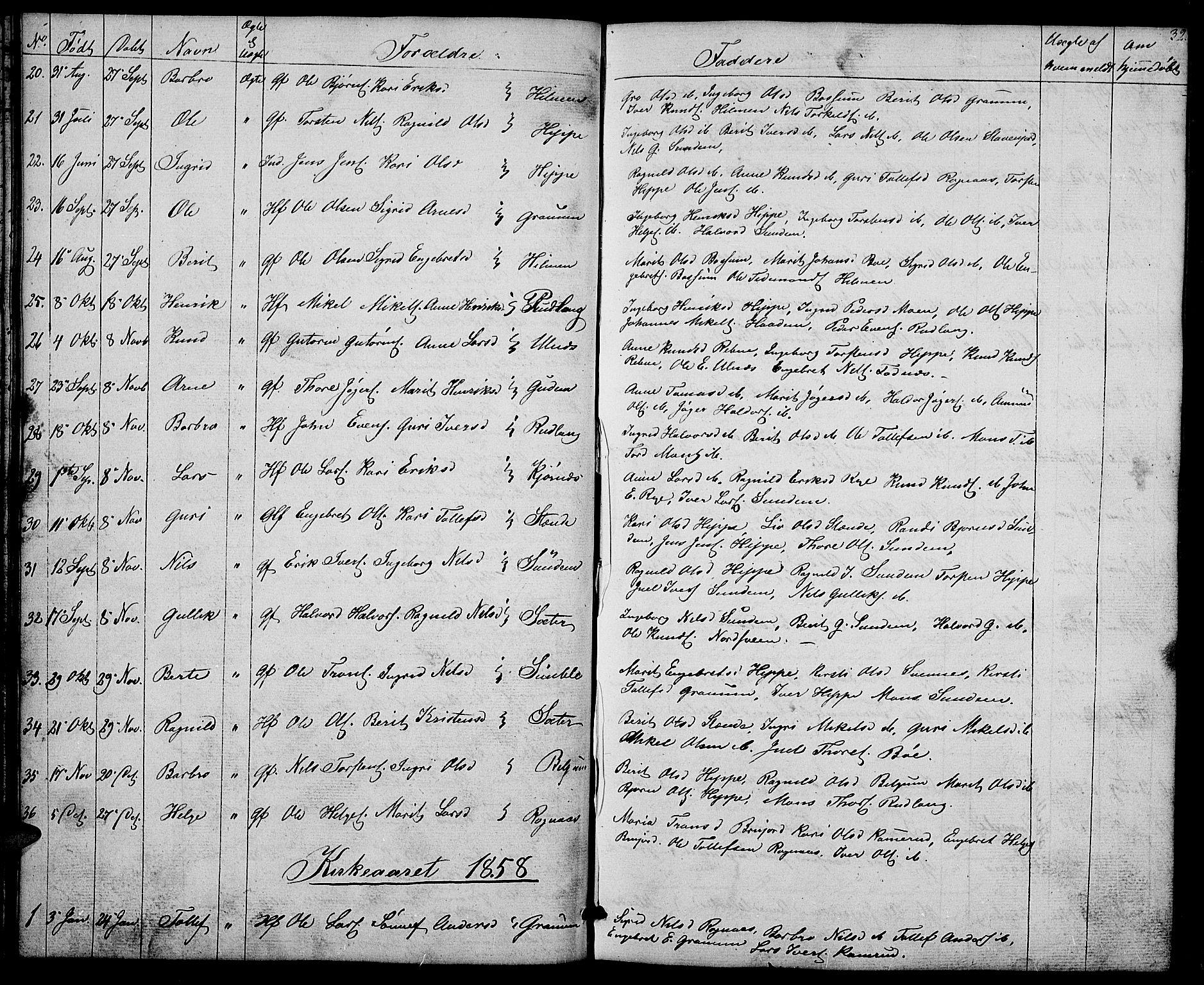 SAH, Nord-Aurdal prestekontor, Klokkerbok nr. 4, 1842-1882, s. 32