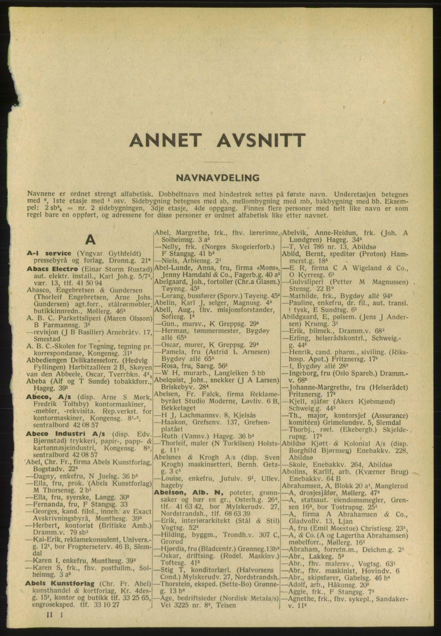 PUBL, Kristiania/Oslo adressebok, 1952, s. 41