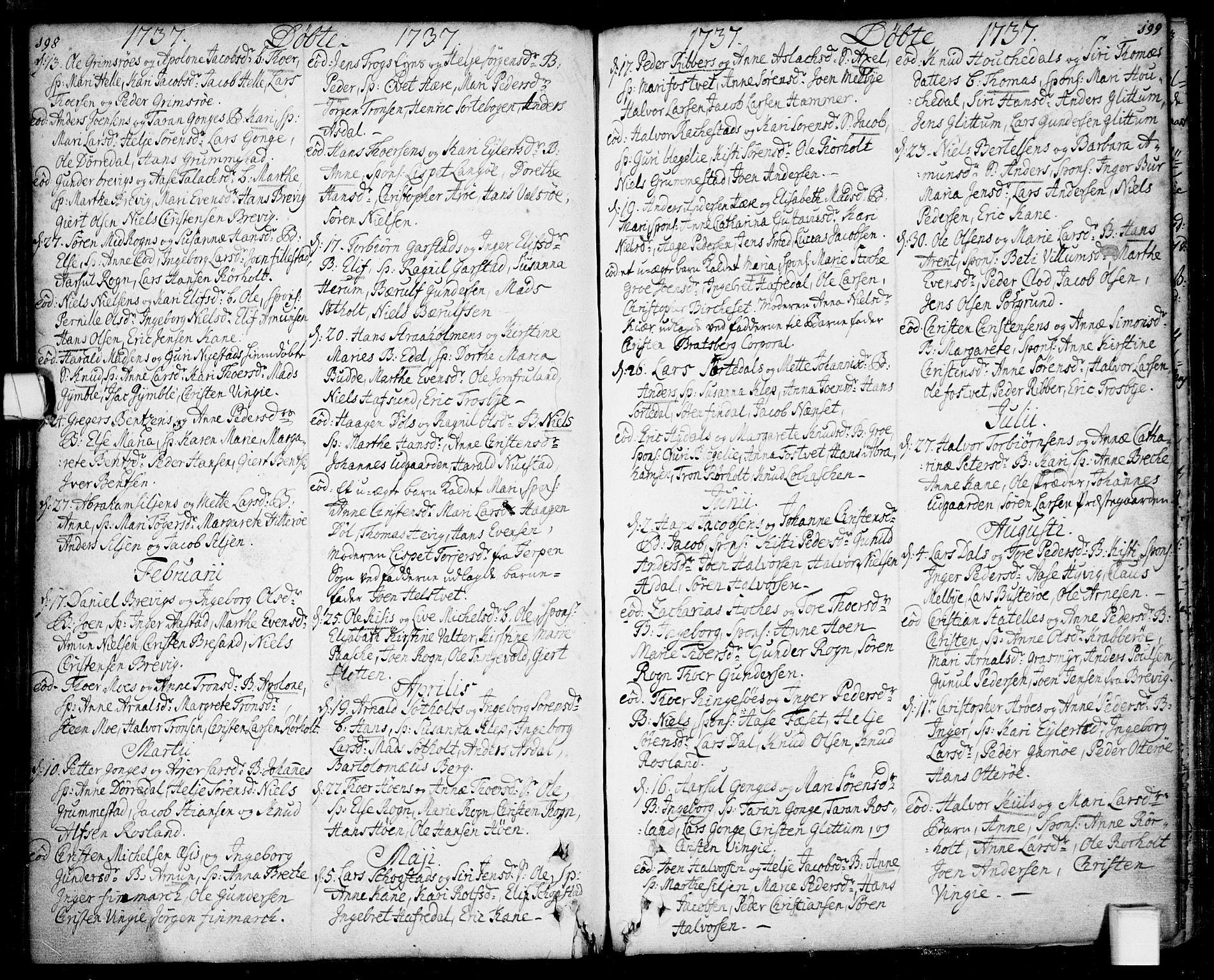 SAKO, Bamble kirkebøker, F/Fa/L0001: Ministerialbok nr. I 1, 1702-1774, s. 198-199