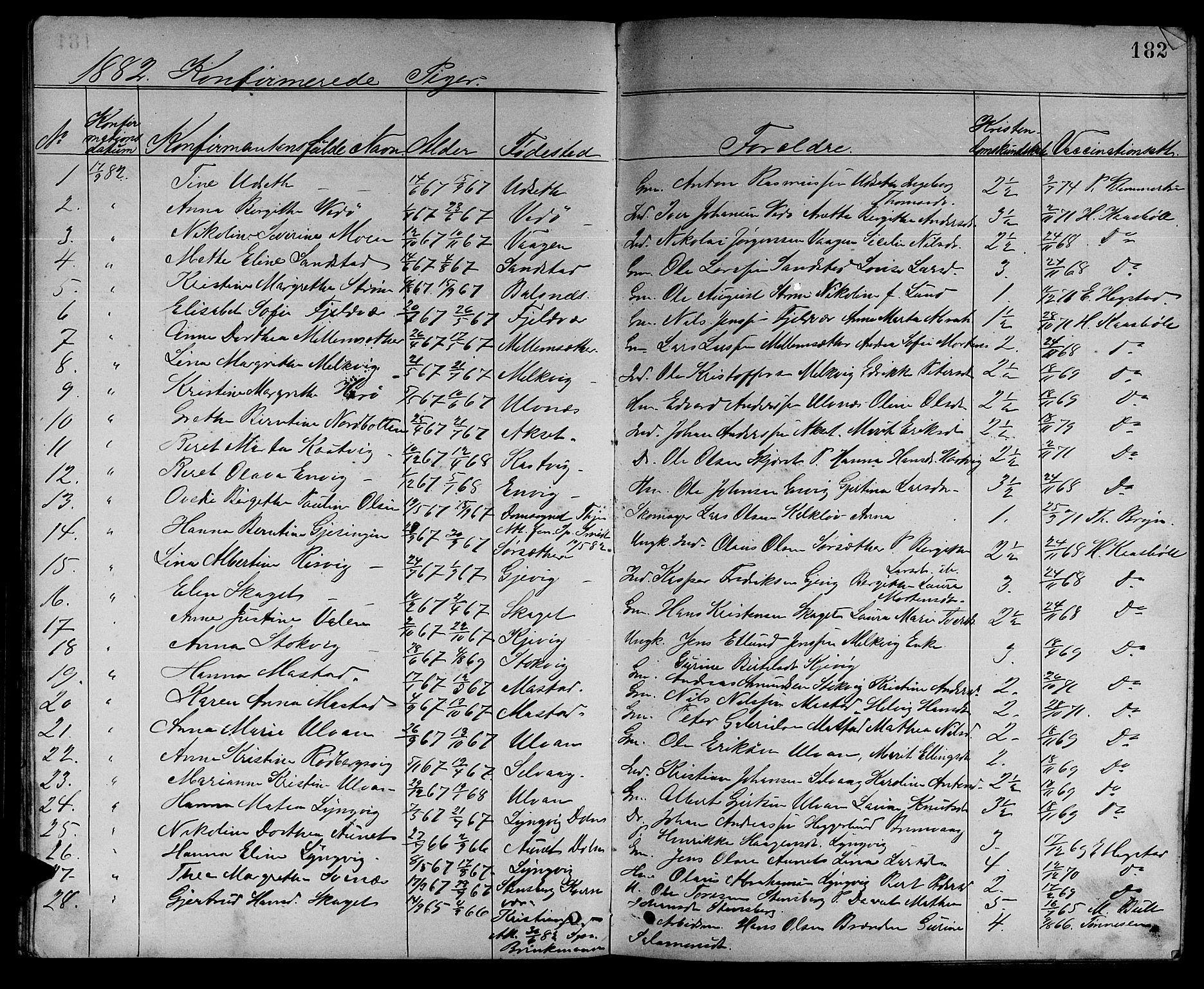 SAT, Ministerialprotokoller, klokkerbøker og fødselsregistre - Sør-Trøndelag, 637/L0561: Klokkerbok nr. 637C02, 1873-1882, s. 182
