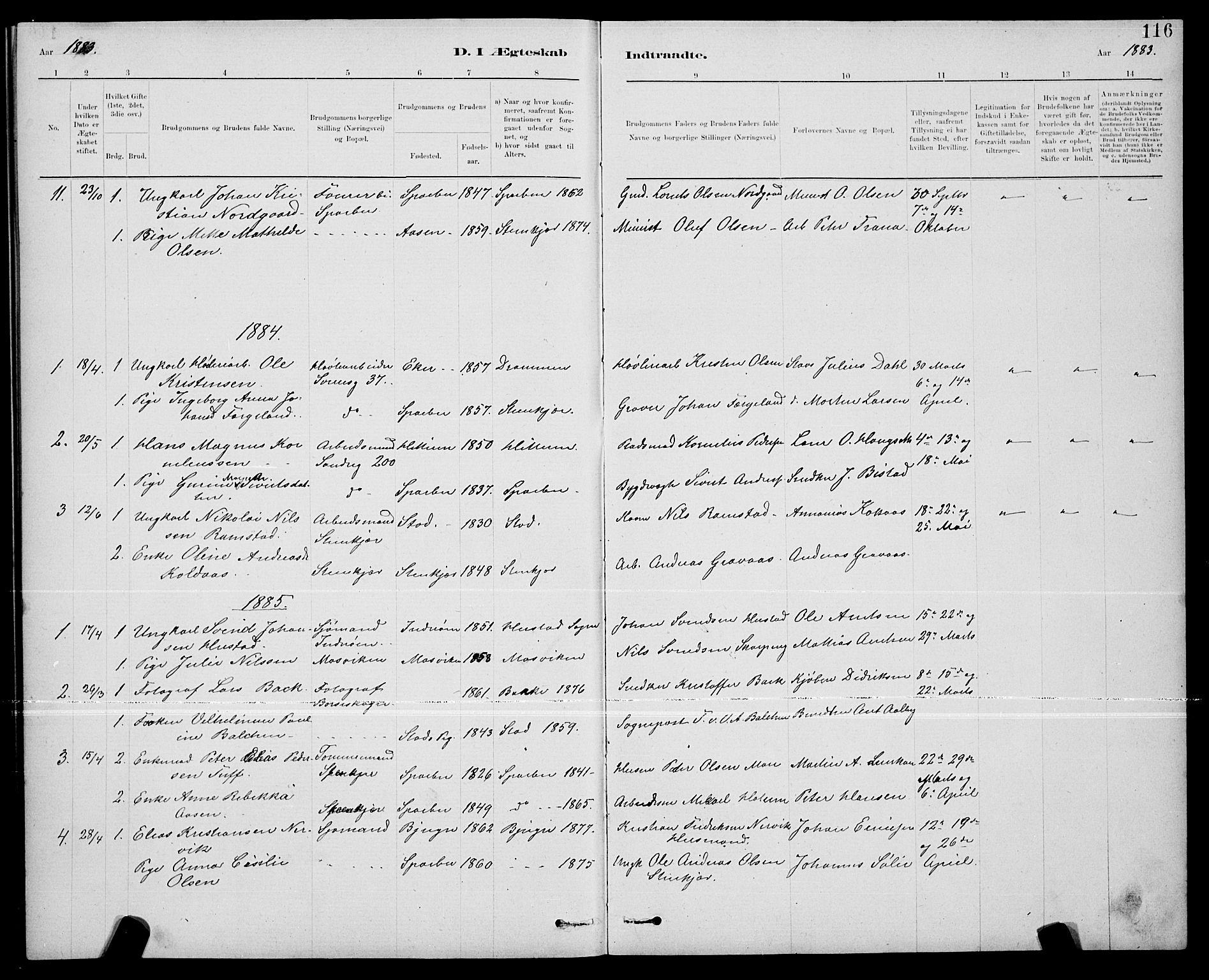 SAT, Ministerialprotokoller, klokkerbøker og fødselsregistre - Nord-Trøndelag, 739/L0374: Klokkerbok nr. 739C02, 1883-1898, s. 116