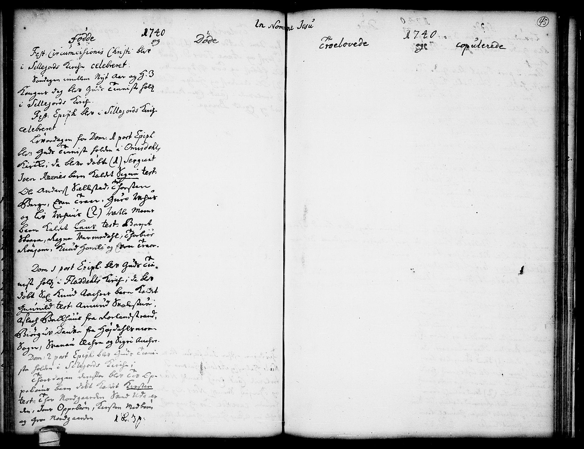SAKO, Seljord kirkebøker, F/Fa/L0005: Ministerialbok nr. I 5, 1737-1743, s. 45