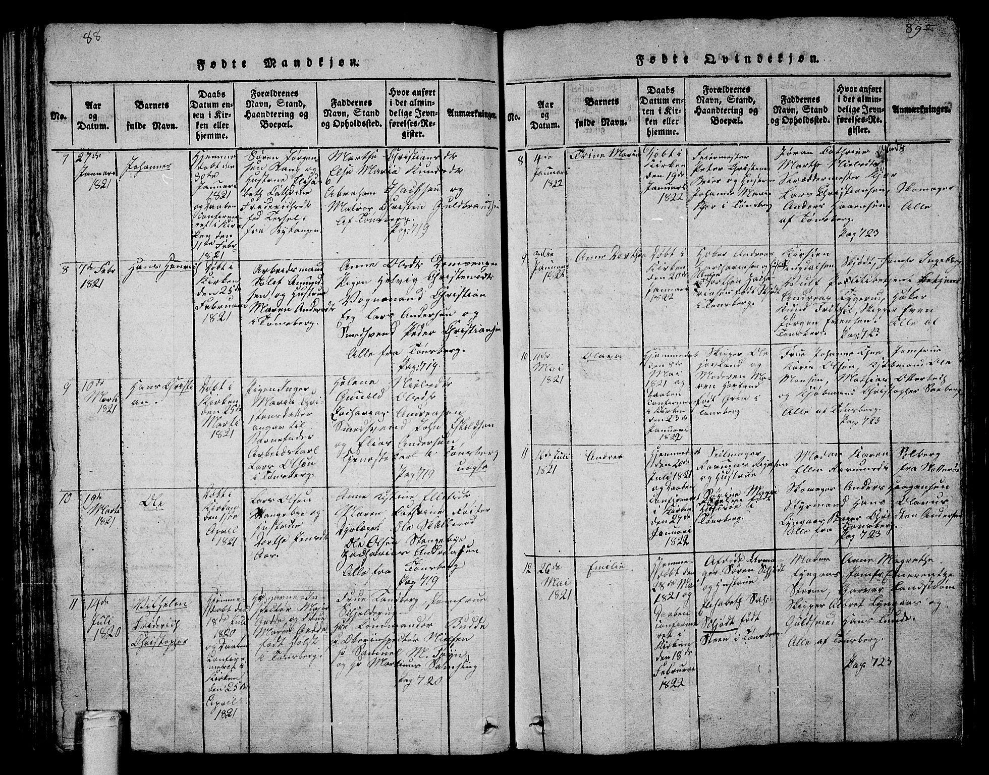 SAKO, Tønsberg kirkebøker, G/Ga/L0001: Klokkerbok nr. 1, 1813-1826, s. 88-89