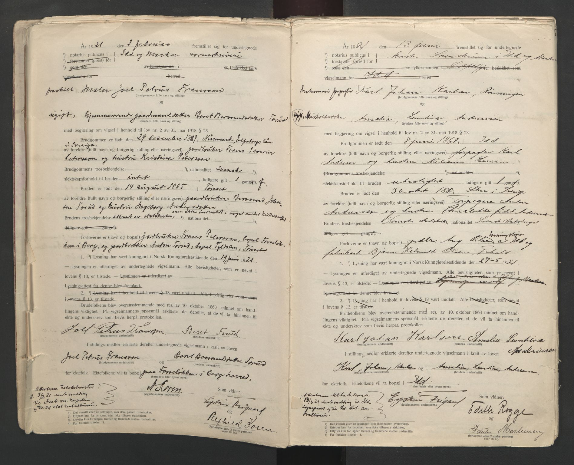 SAO, Idd og Marker sorenskriveri, L/Lc/L0001: Vigselsbøker, 1920-1942, s. 7