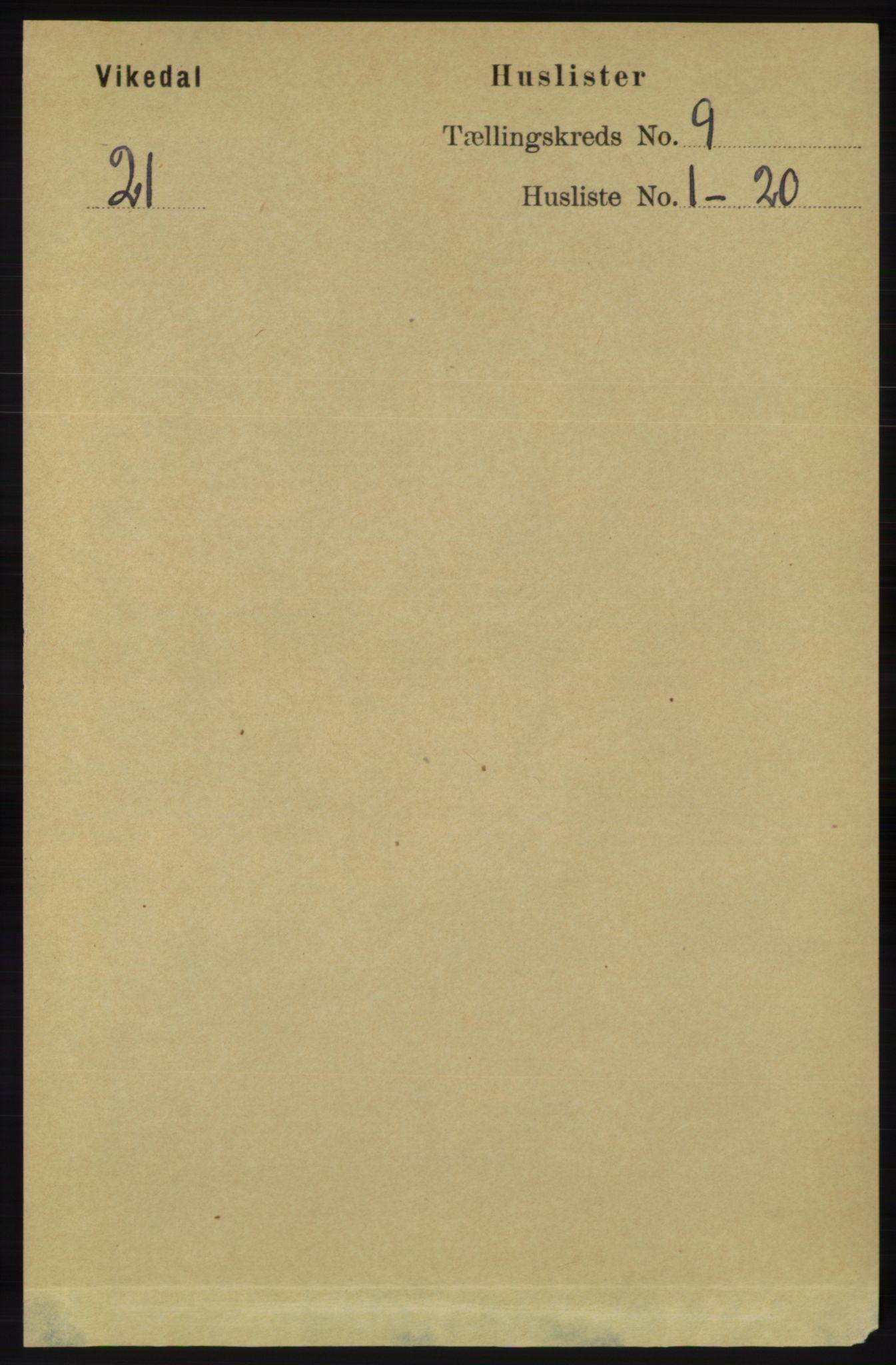 RA, Folketelling 1891 for 1157 Vikedal herred, 1891, s. 2343
