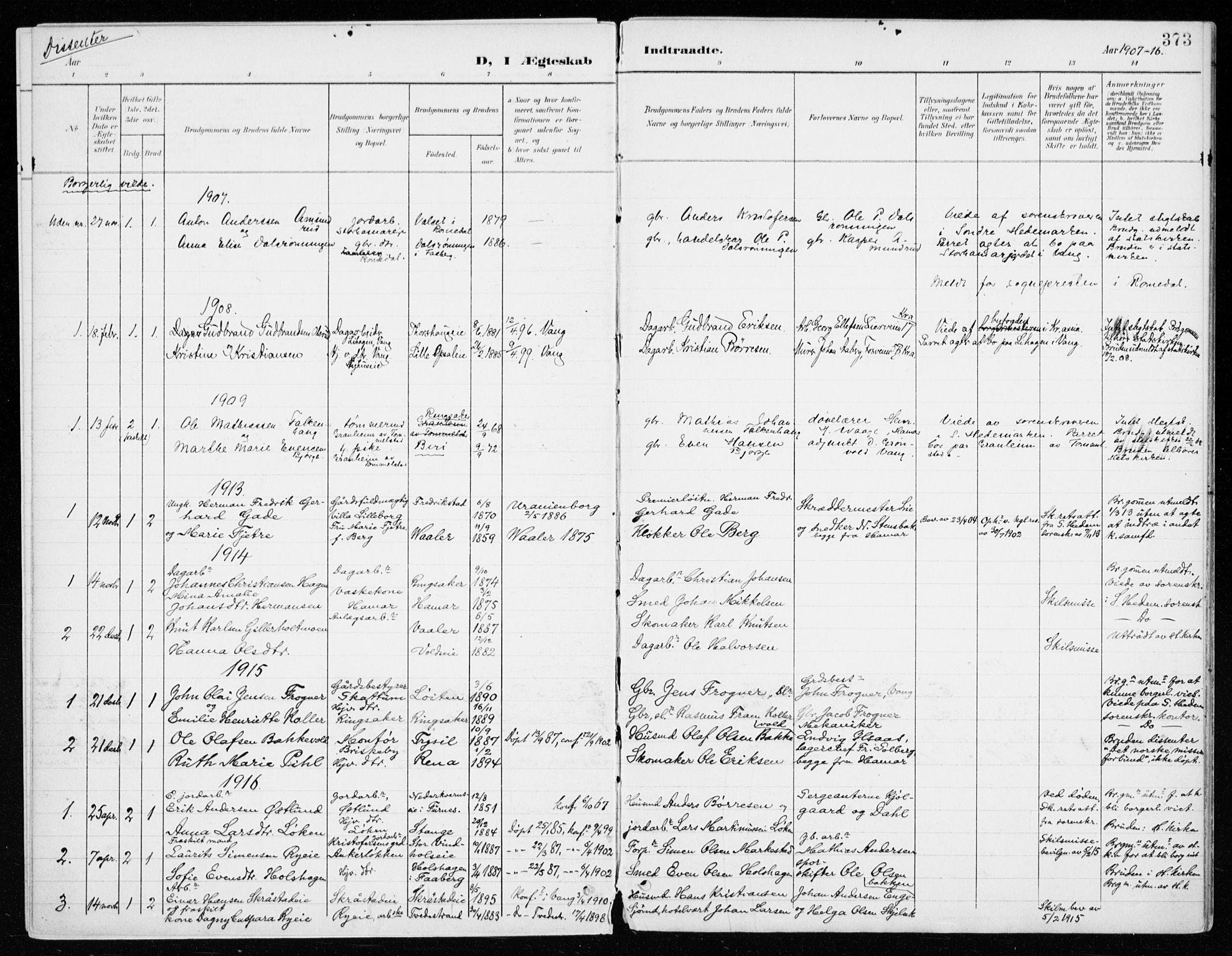 SAH, Vang prestekontor, Hedmark, H/Ha/Haa/L0021: Ministerialbok nr. 21, 1902-1917, s. 373