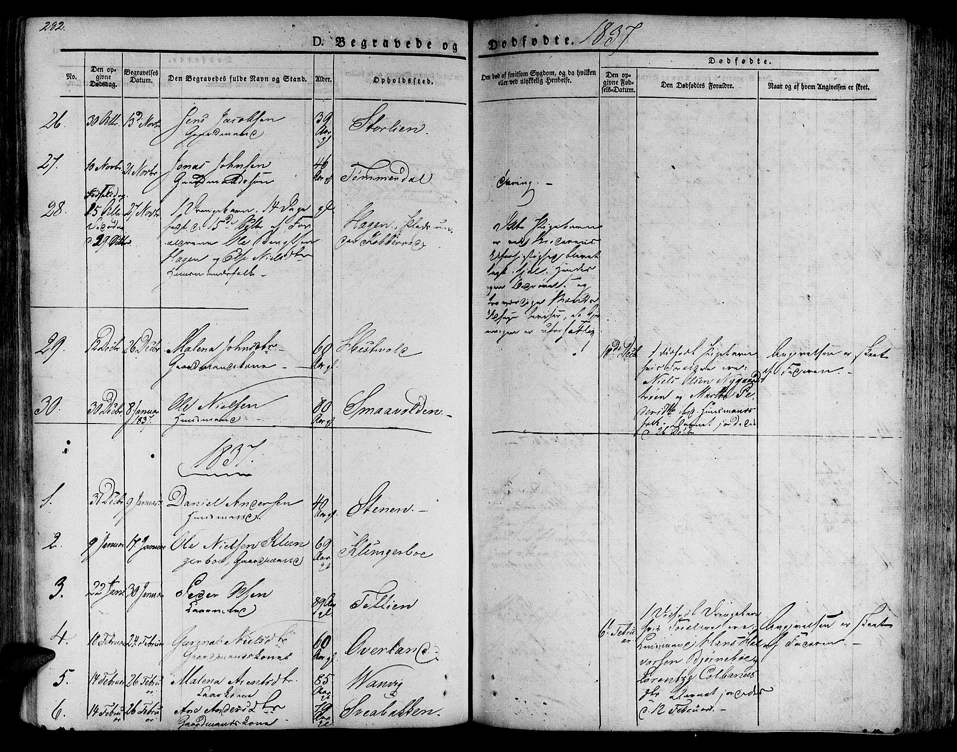 SAT, Ministerialprotokoller, klokkerbøker og fødselsregistre - Nord-Trøndelag, 701/L0006: Ministerialbok nr. 701A06, 1825-1841, s. 282