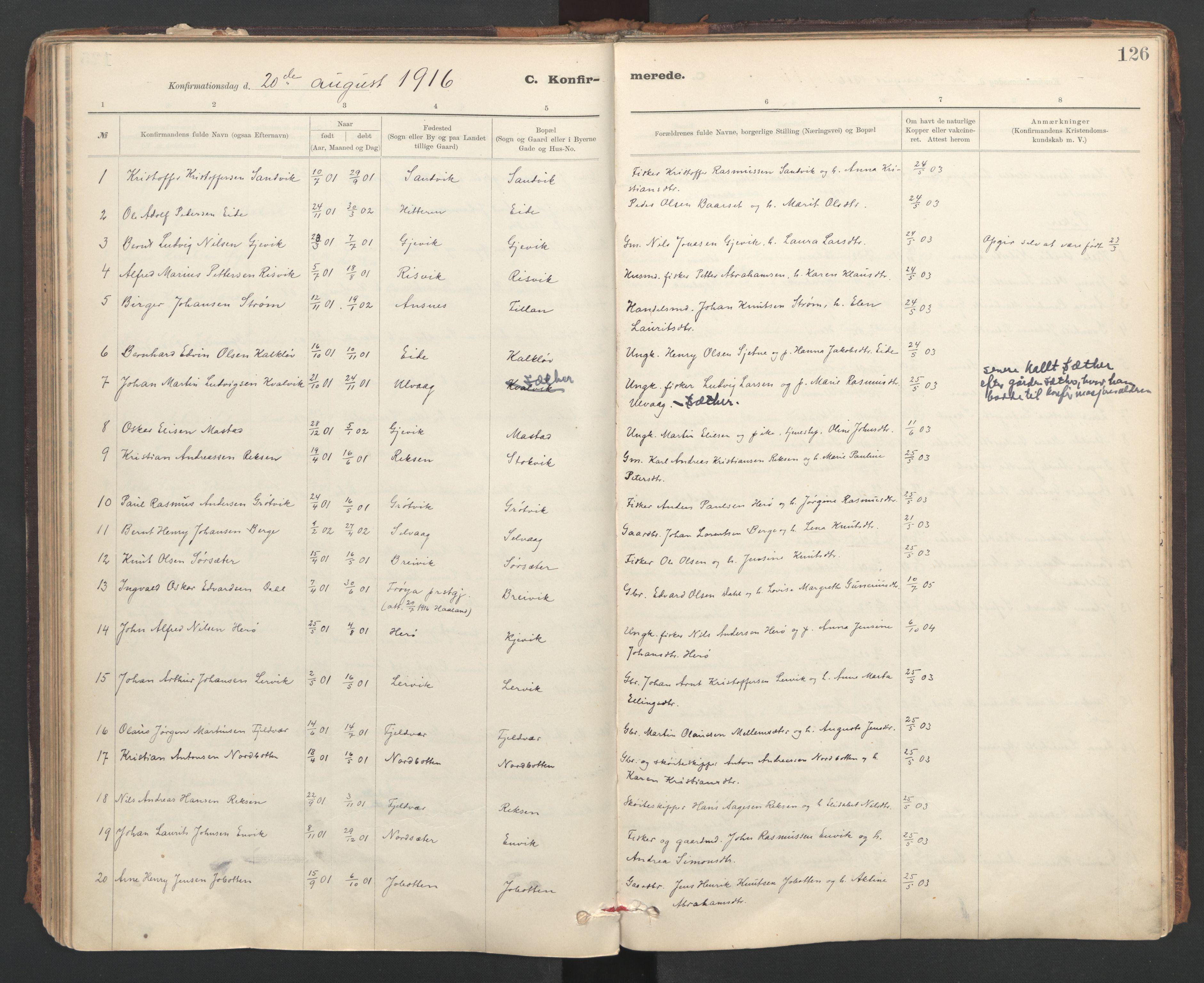 SAT, Ministerialprotokoller, klokkerbøker og fødselsregistre - Sør-Trøndelag, 637/L0559: Ministerialbok nr. 637A02, 1899-1923, s. 126