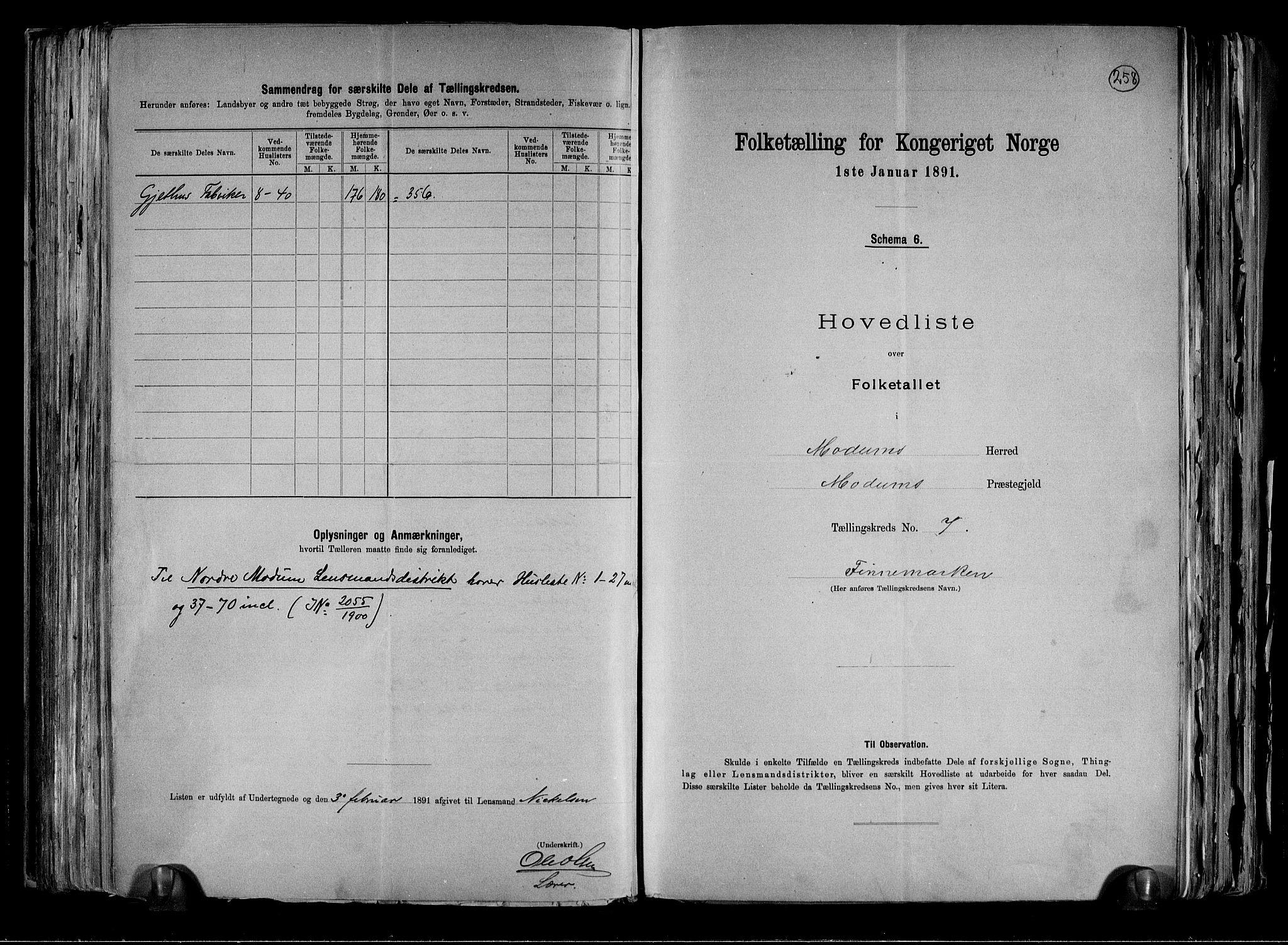 RA, Folketelling 1891 for 0623 Modum herred, 1891, s. 20