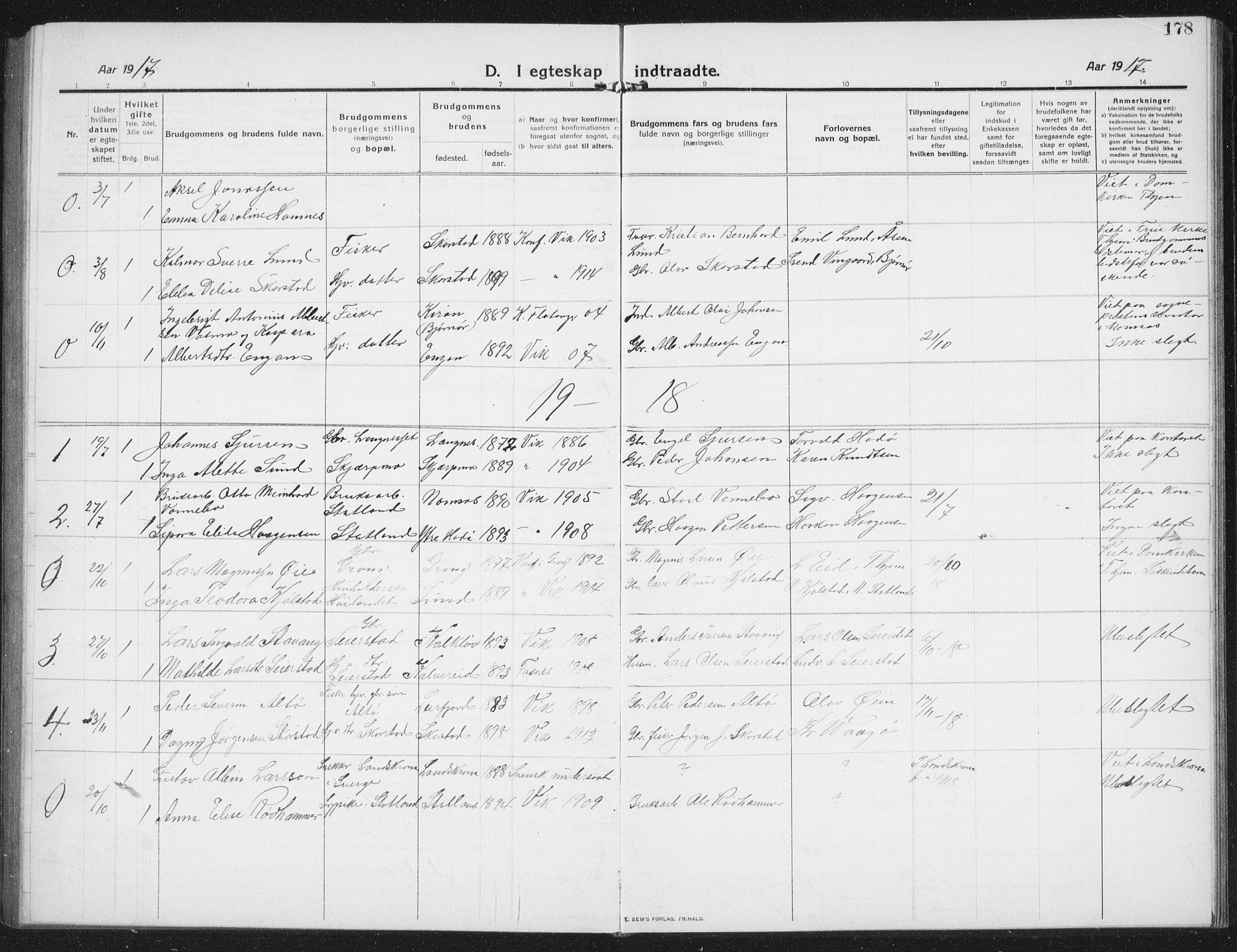 SAT, Ministerialprotokoller, klokkerbøker og fødselsregistre - Nord-Trøndelag, 774/L0630: Klokkerbok nr. 774C01, 1910-1934, s. 178