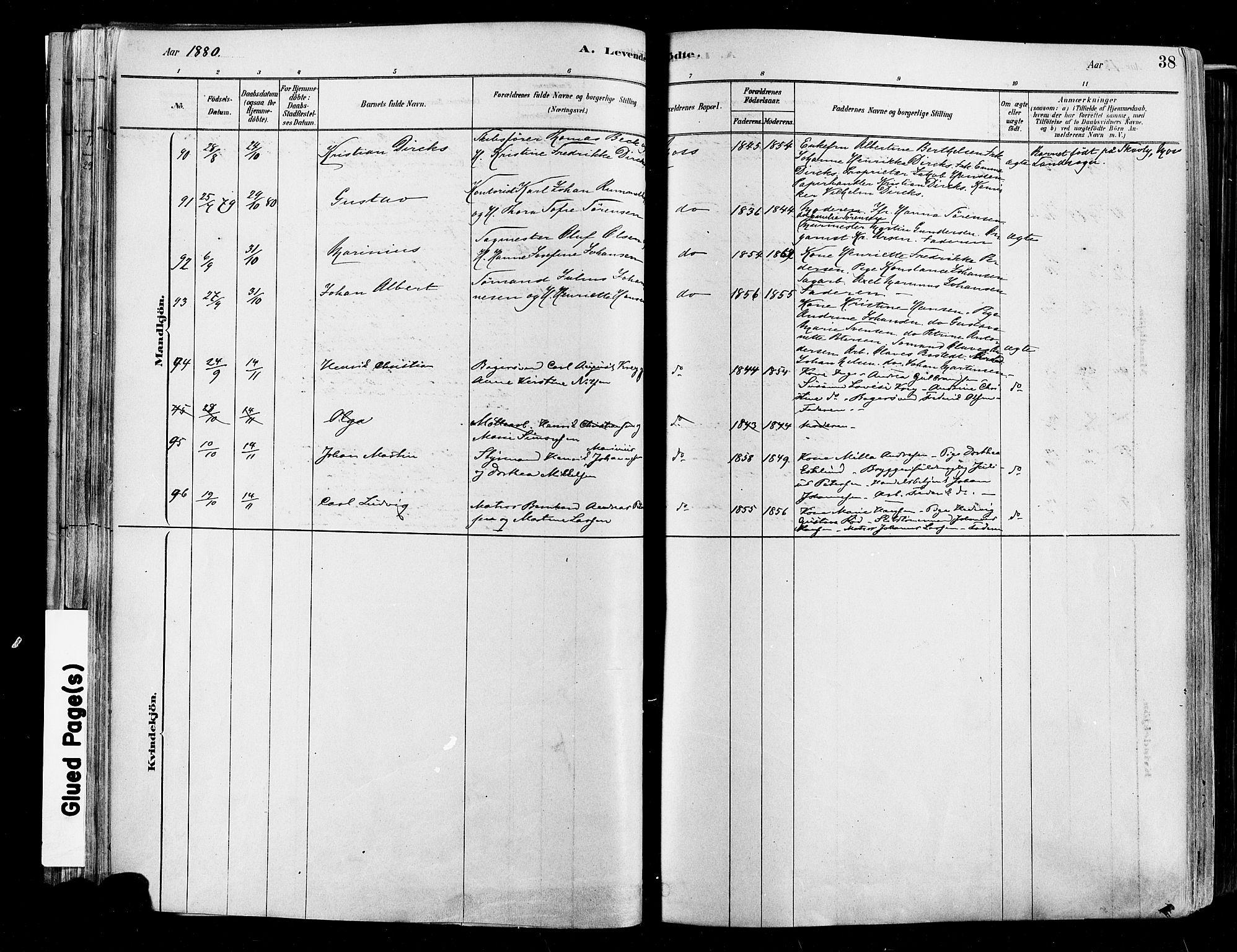 SAO, Moss prestekontor Kirkebøker, F/Fb/Fab/L0001: Ministerialbok nr. II 1, 1878-1886, s. 38