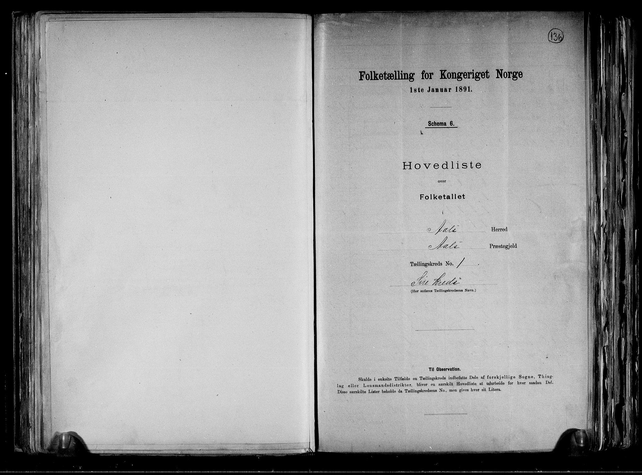 RA, Folketelling 1891 for 0619 Ål herred, 1891, s. 6