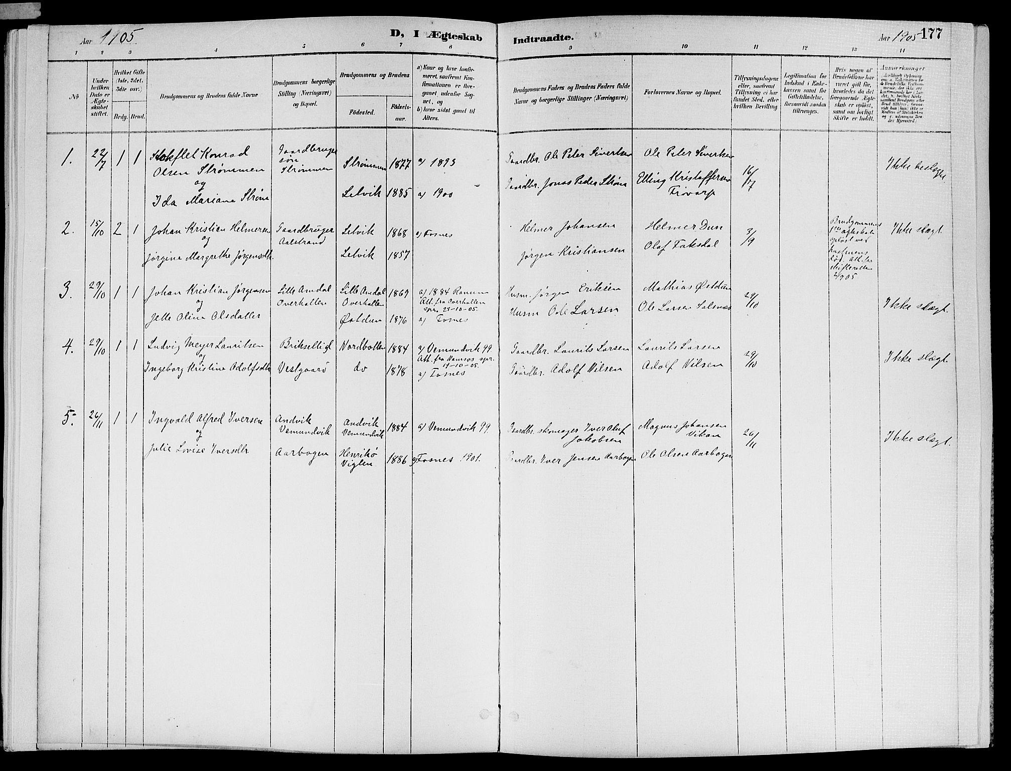 SAT, Ministerialprotokoller, klokkerbøker og fødselsregistre - Nord-Trøndelag, 773/L0617: Ministerialbok nr. 773A08, 1887-1910, s. 177