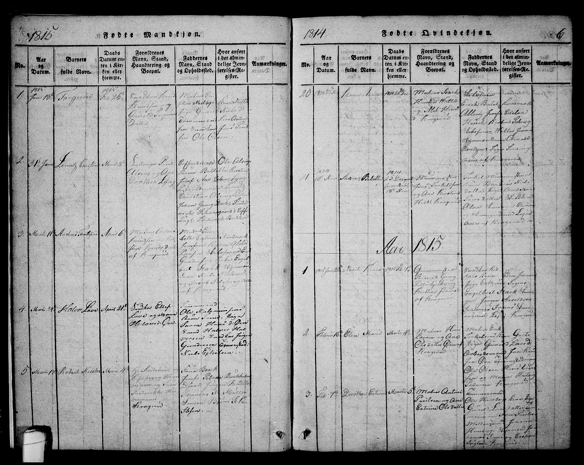 SAKO, Kragerø kirkebøker, F/Fa/L0004: Ministerialbok nr. 4, 1814-1831, s. 6