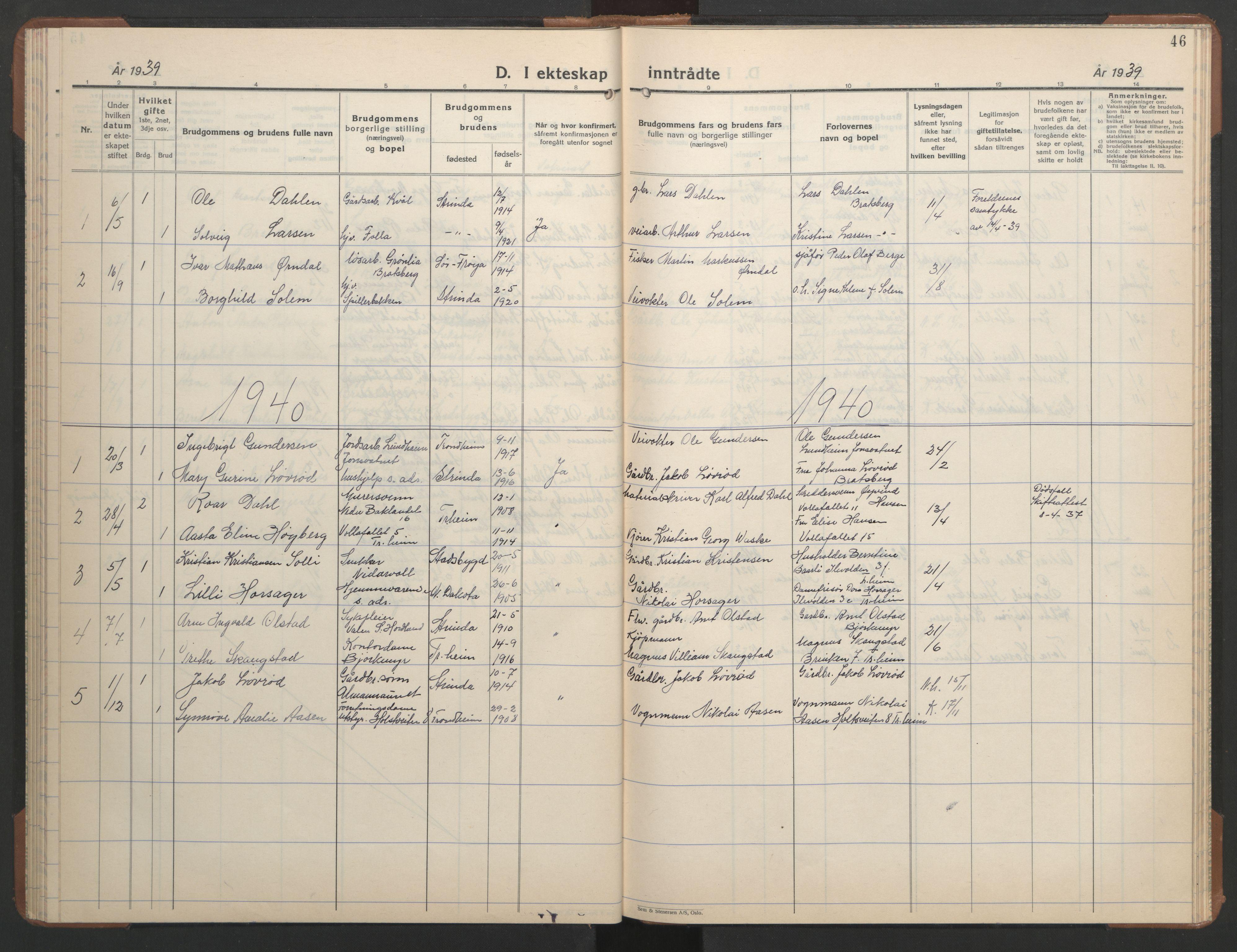 SAT, Ministerialprotokoller, klokkerbøker og fødselsregistre - Sør-Trøndelag, 608/L0343: Klokkerbok nr. 608C09, 1938-1952, s. 46