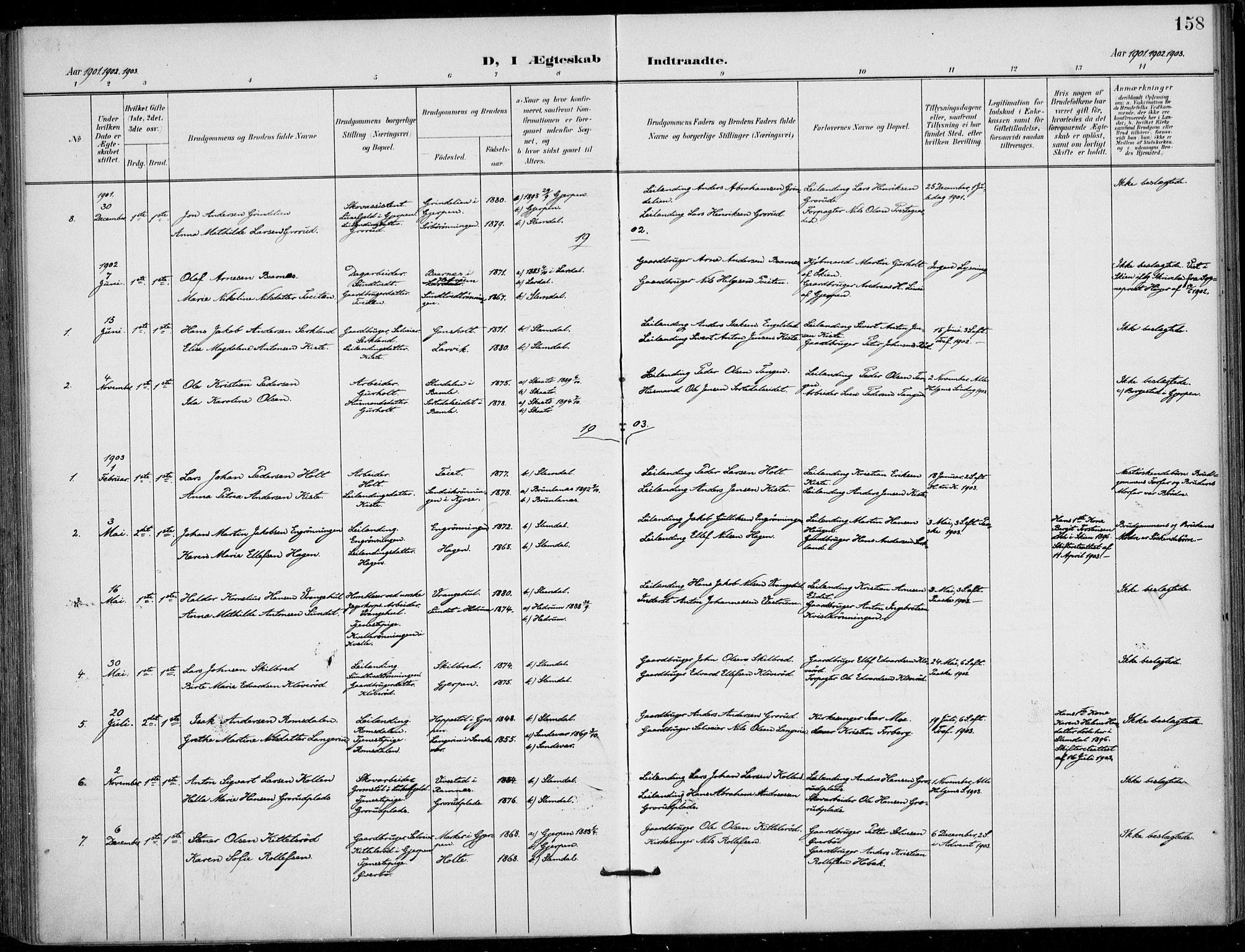 SAKO, Siljan kirkebøker, F/Fa/L0003: Ministerialbok nr. 3, 1896-1910, s. 158